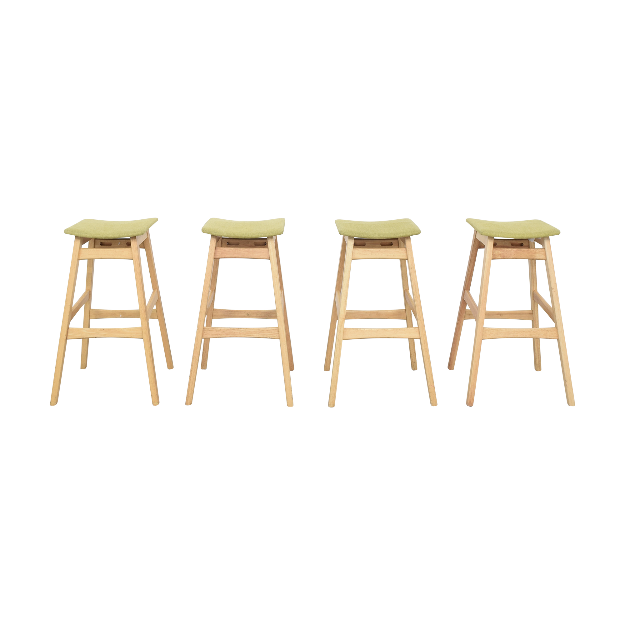 Noble House Noble House Teak Bar Stools with Green Cushion second hand