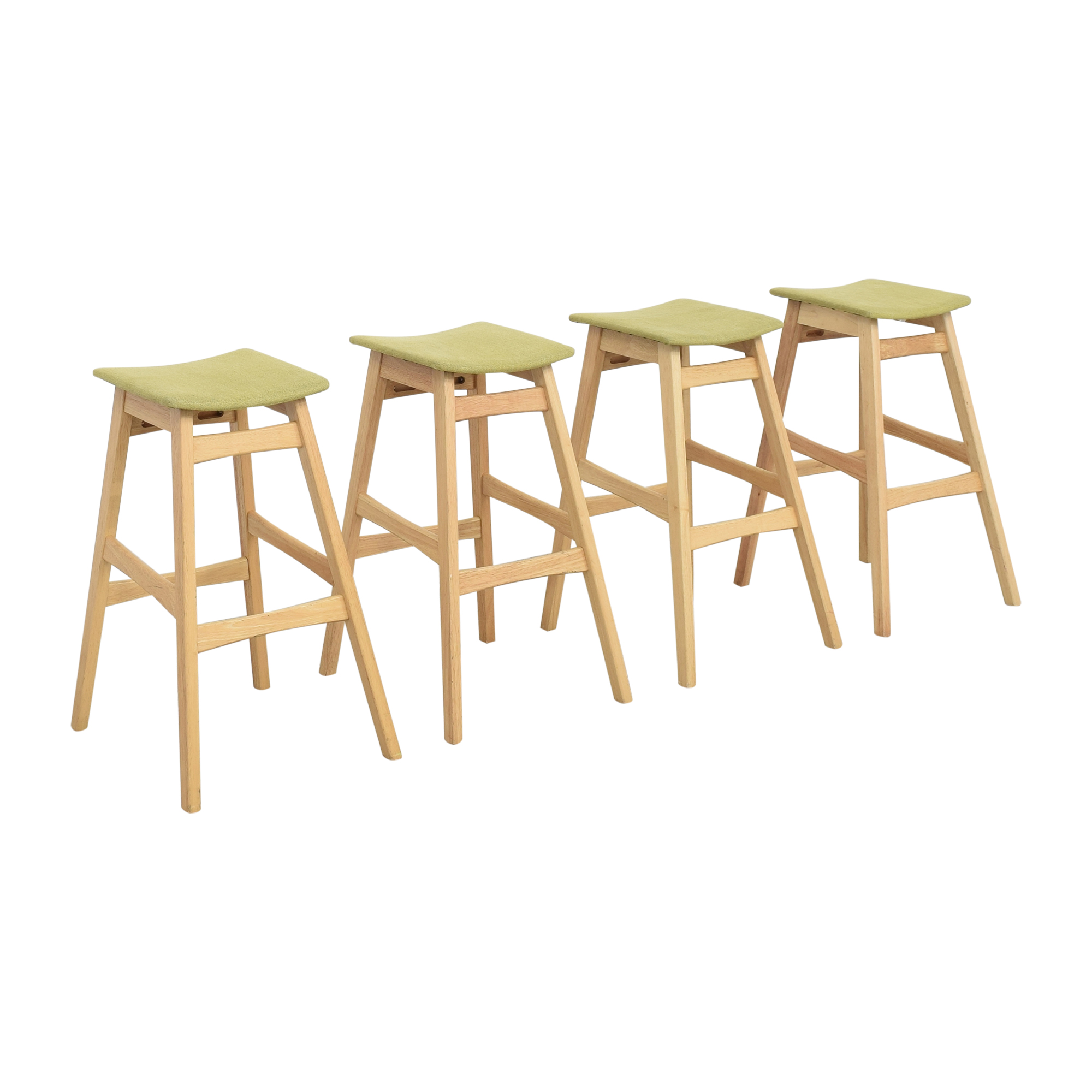Noble House Noble House Teak Bar Stools with Green Cushion dimensions