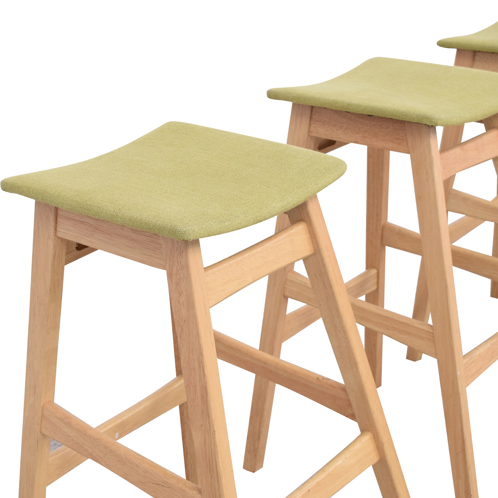 Noble House Noble House Teak Bar Stools with Green Cushion green and light brown