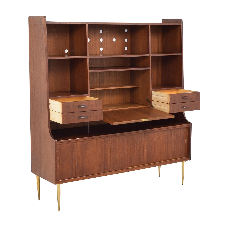 Vintage Mid-Century Hutch with Desk brown