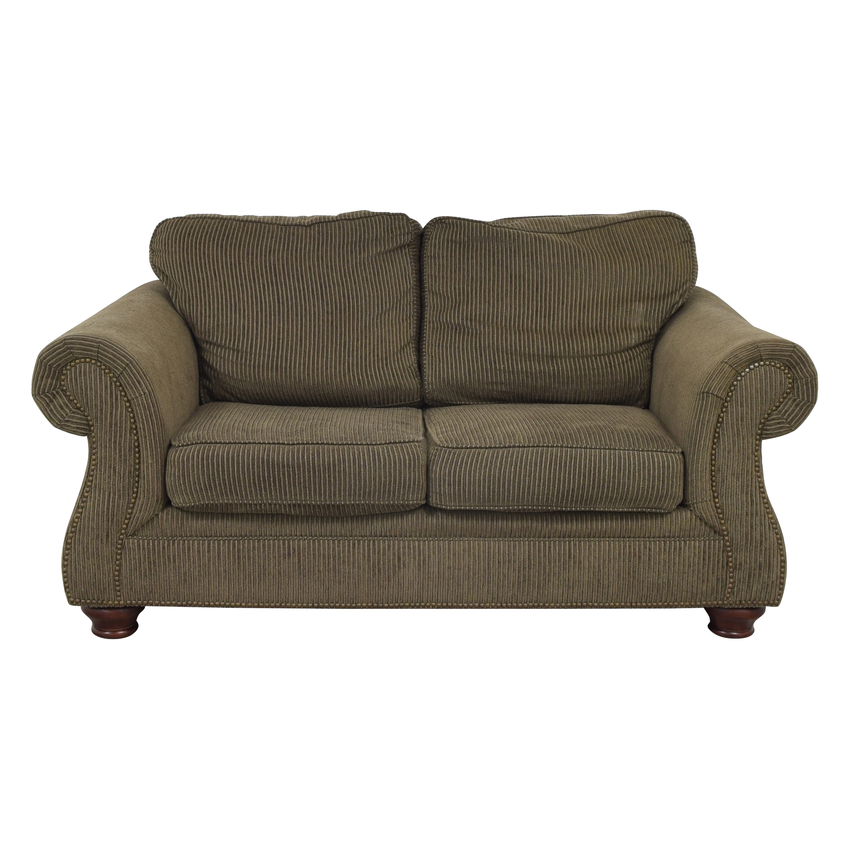 Raymour & Flanigan Raymour & Flanigan Broyhill Roll Arm Loveseat dark green