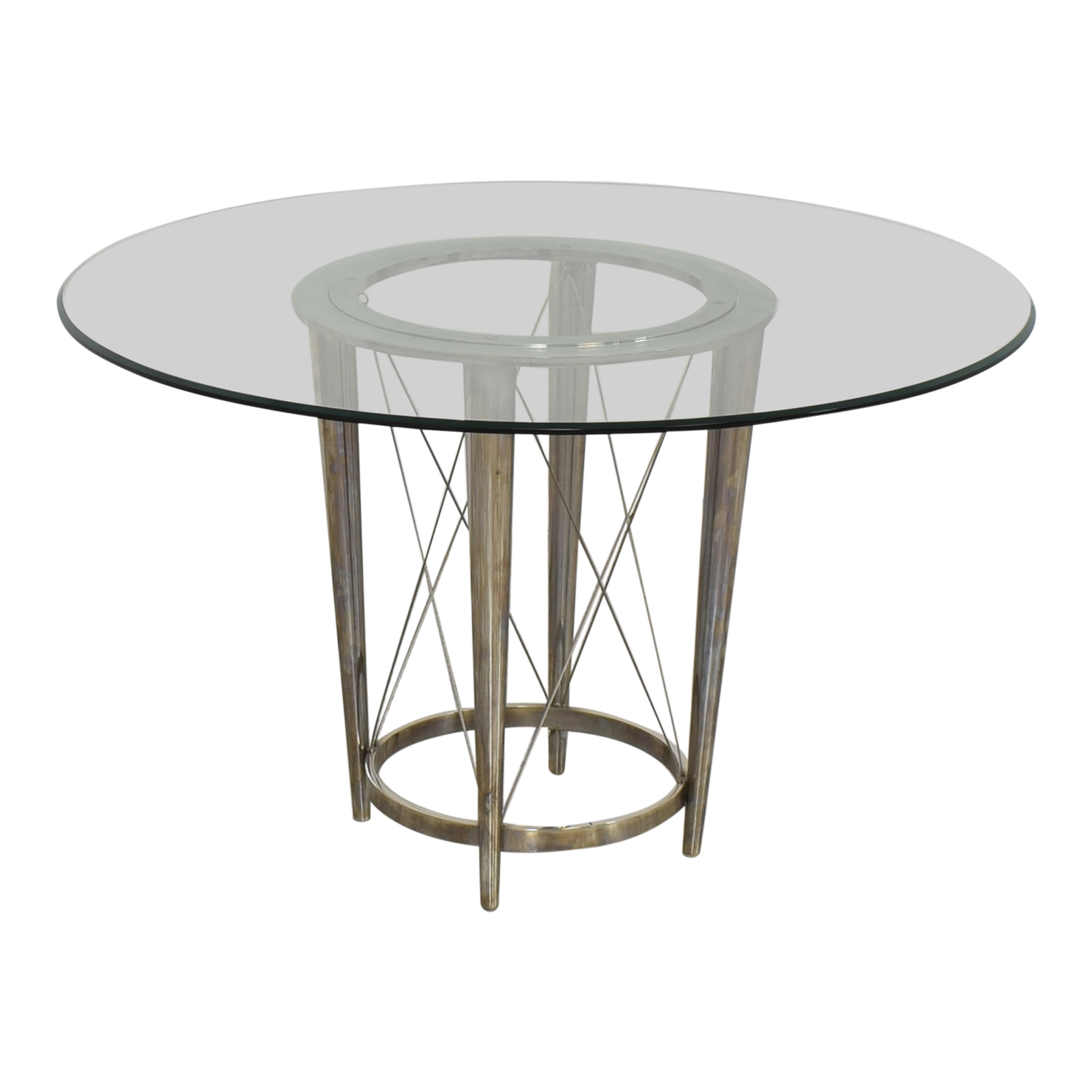 buy Glass Top Pedestal Dining Table  Tables