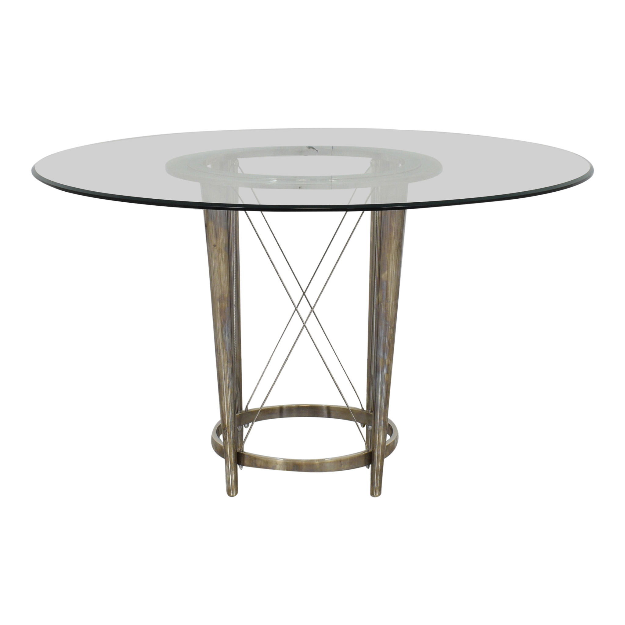 Gl Top Pedestal Dining Table