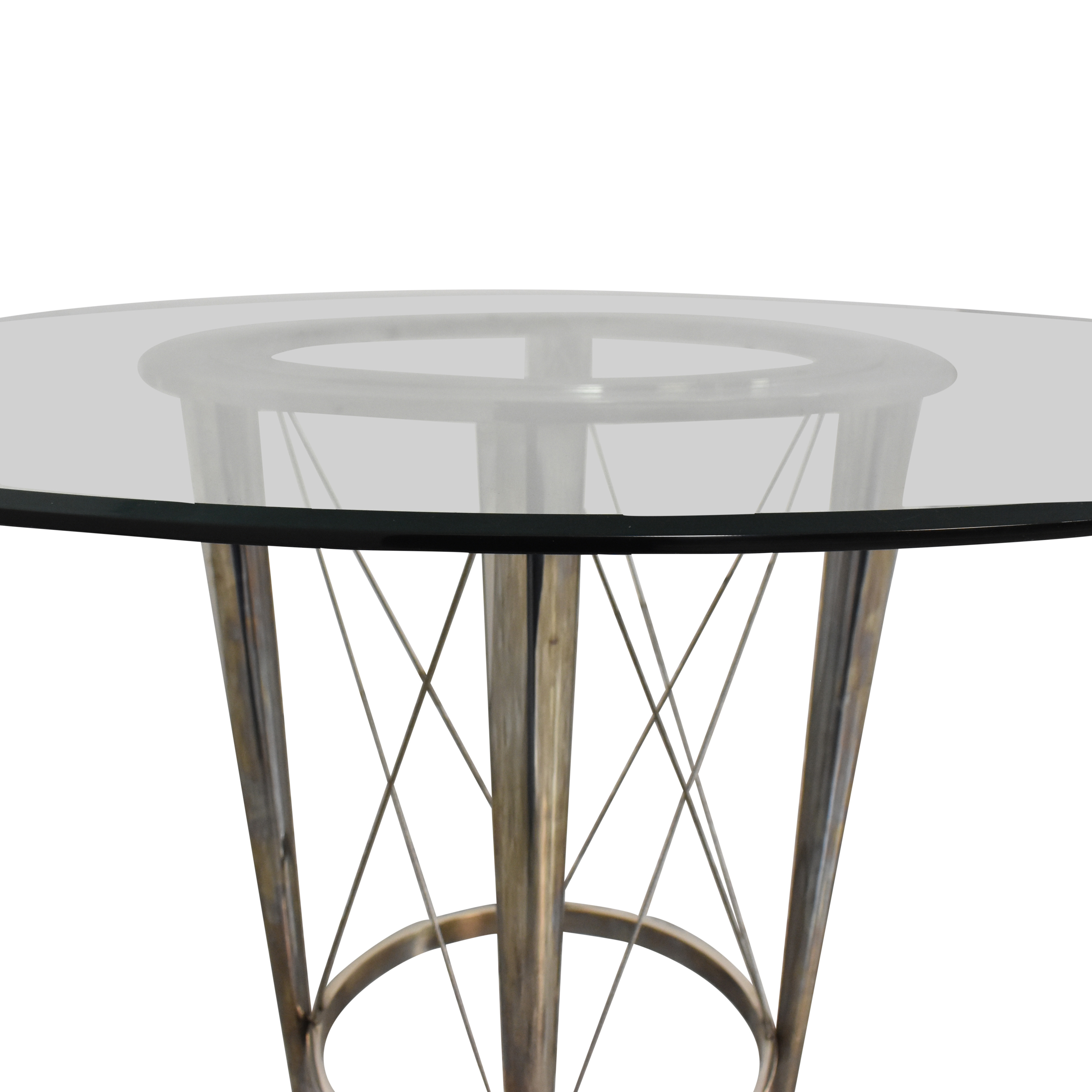 Glass Top Pedestal Dining Table on sale