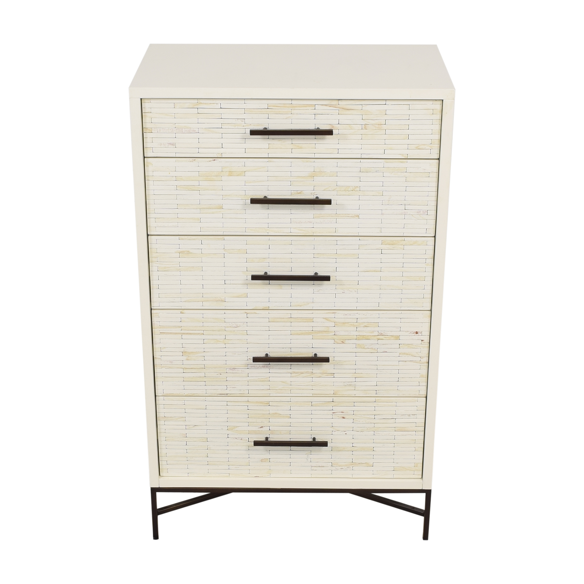 West Elm Wood Tiled 5 Drawer