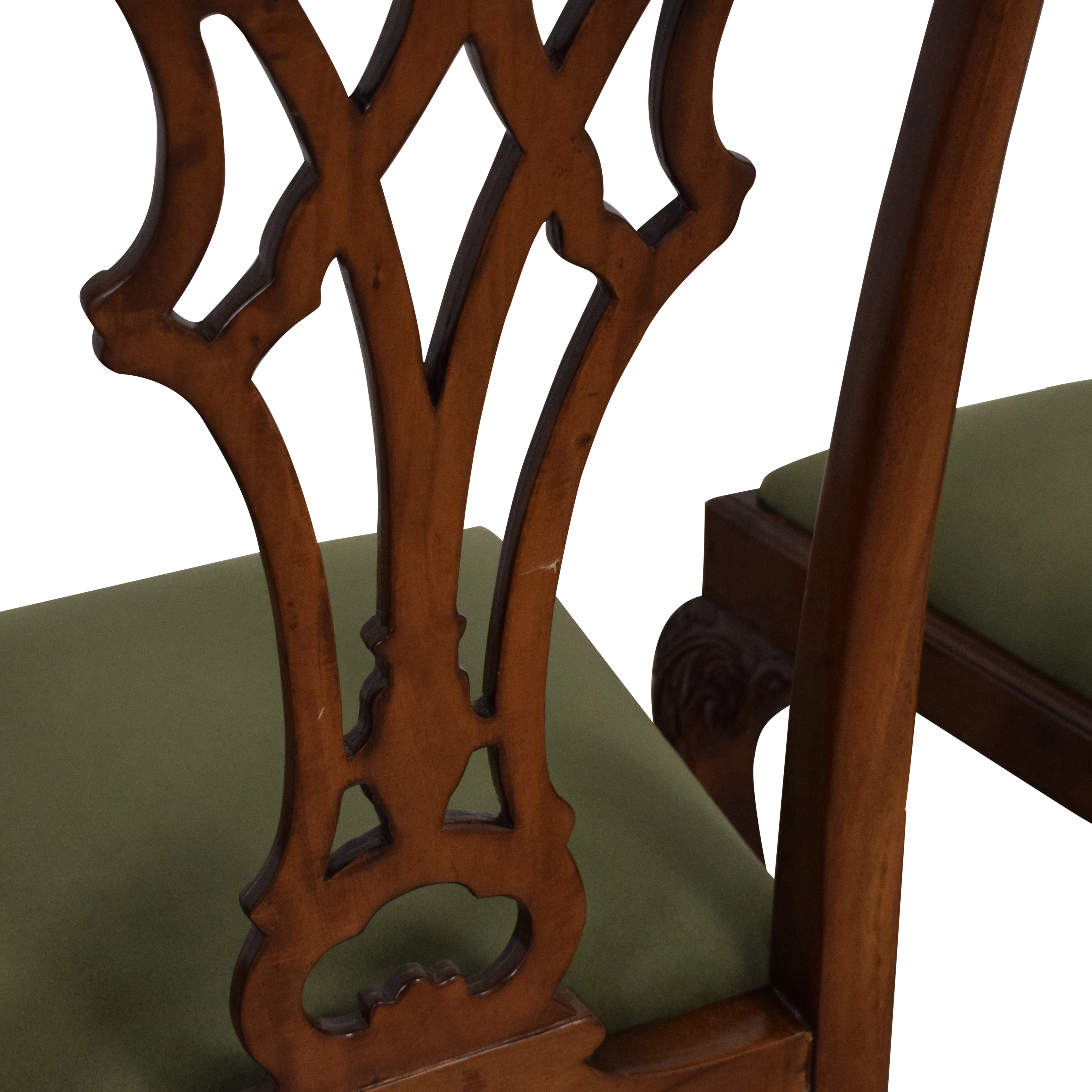 Greenbaum Interiors Queen Anne Style Dining Chairs dark brown and green