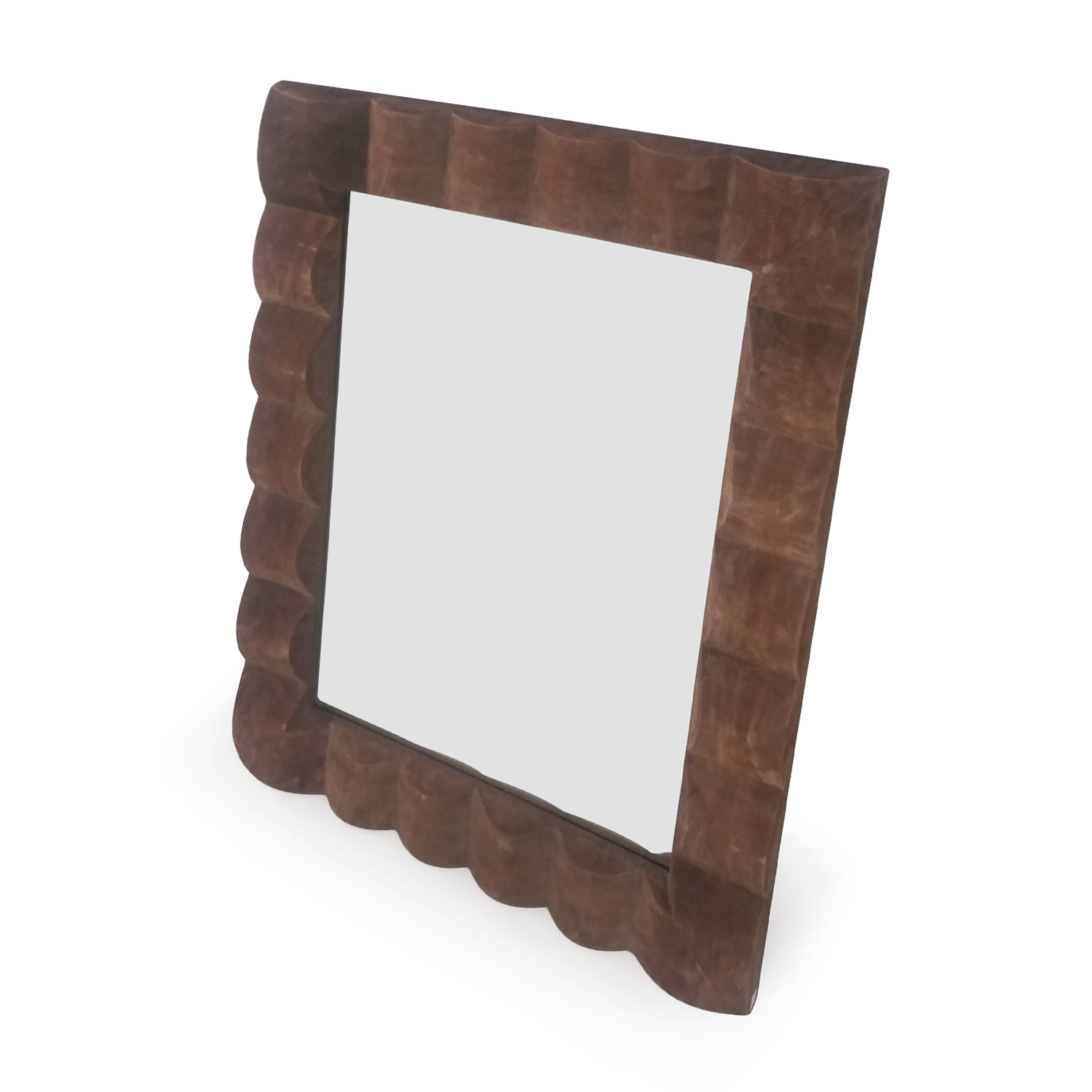 buy Brown Suede Mirror Decor