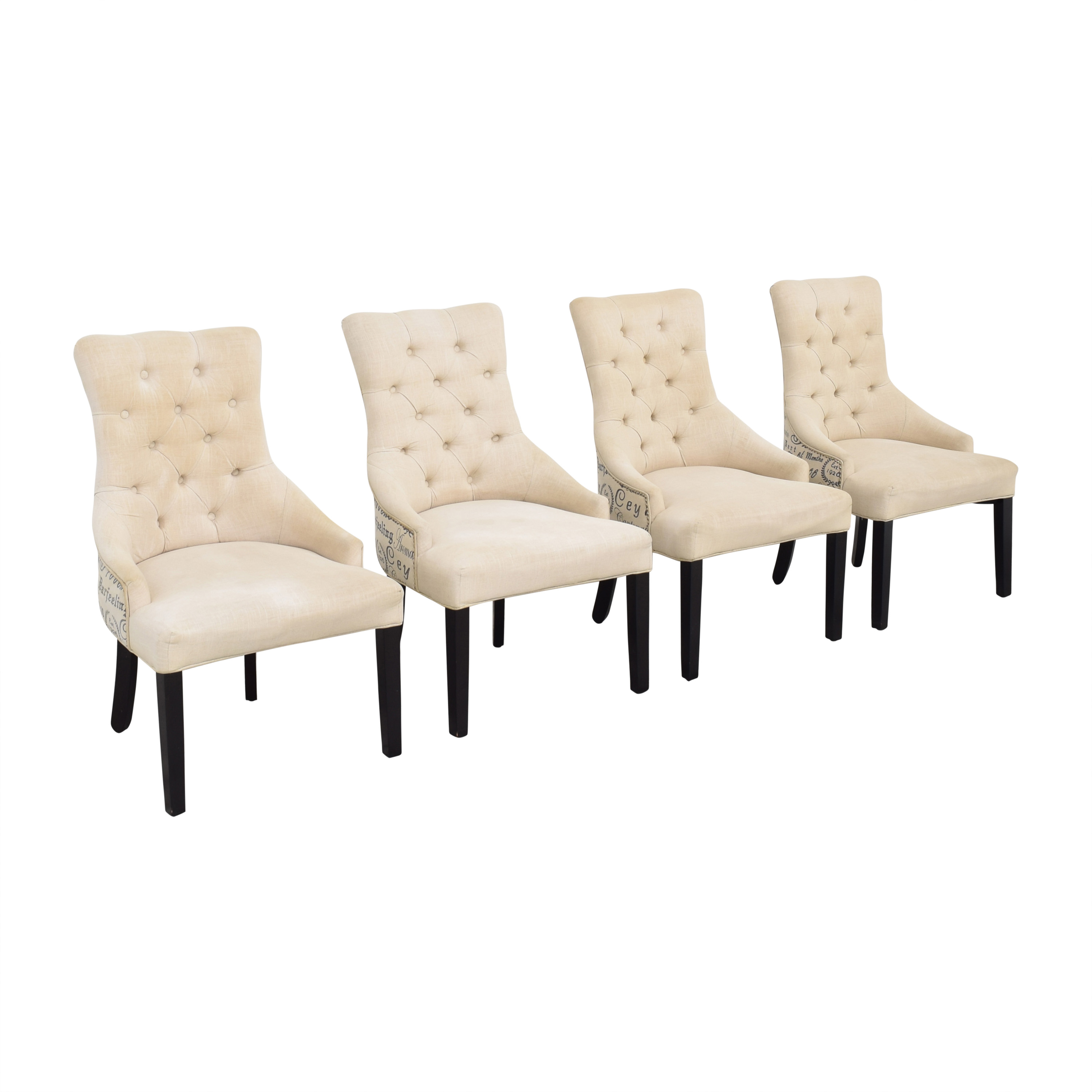 Macy's Macy's Marais Dining Parsons Chairs off white & dark brown