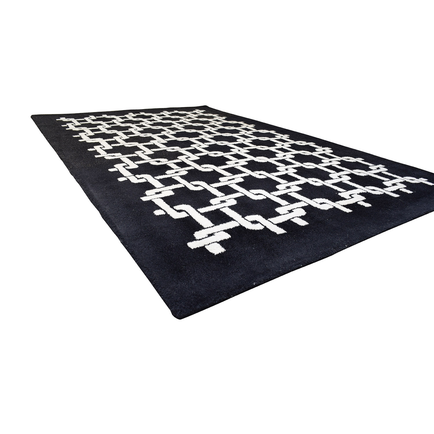 buy Black and White Geometric Patterned Rug