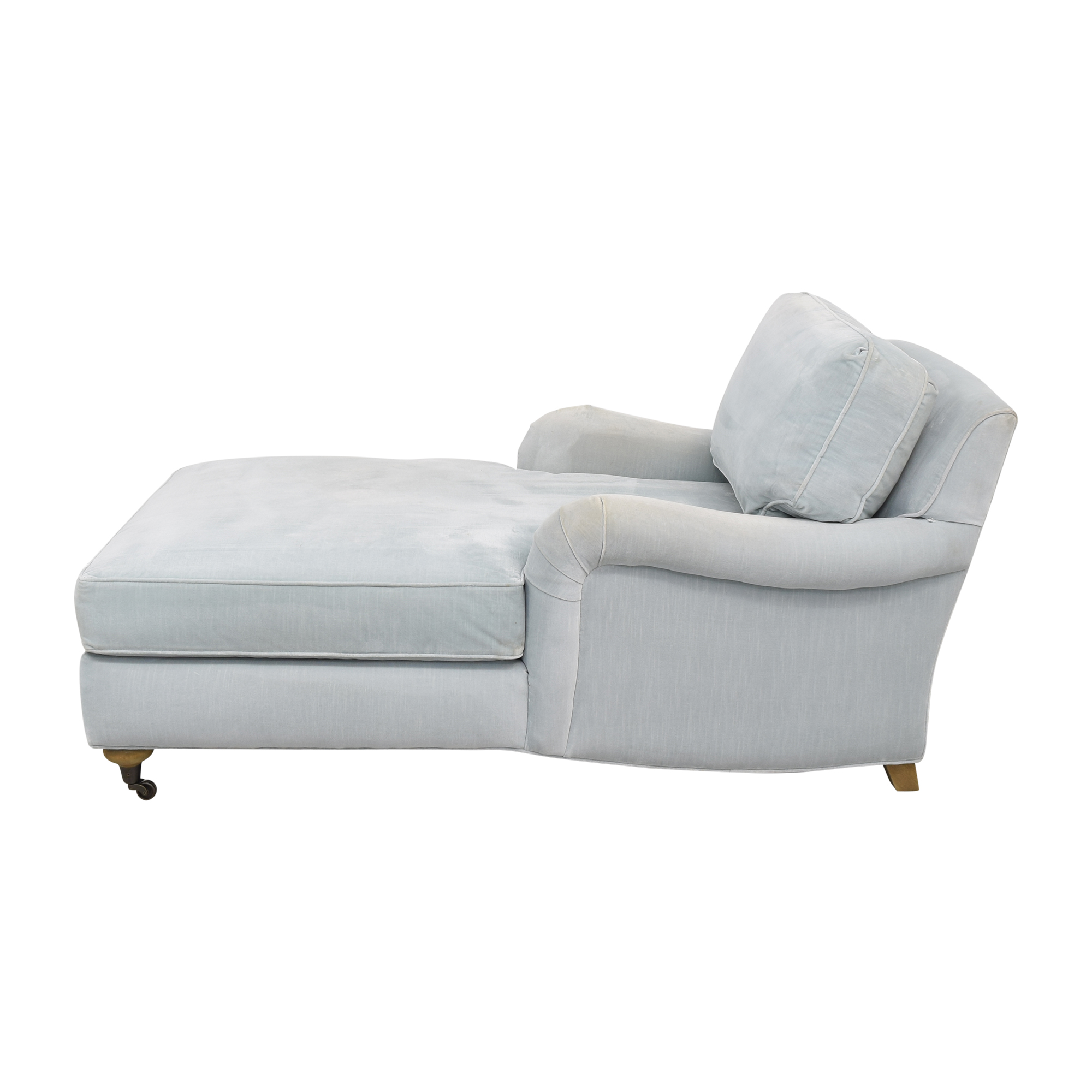 Restoration Hardware Restoration Hardware English Roll Arm Chaise light blue