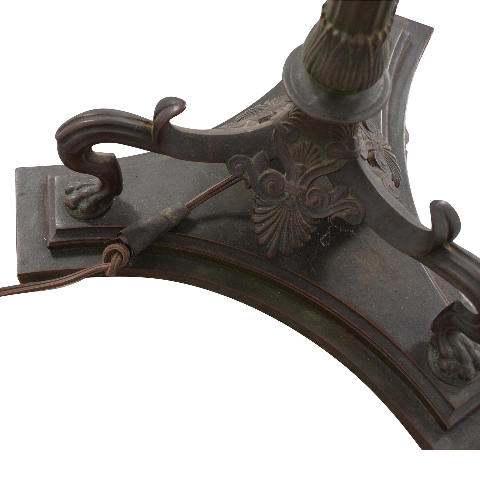 shop Tiffany Studios New York Tiffany Studios Gilt Bronze and Favrile Glass Aladdin Floor Lamp online