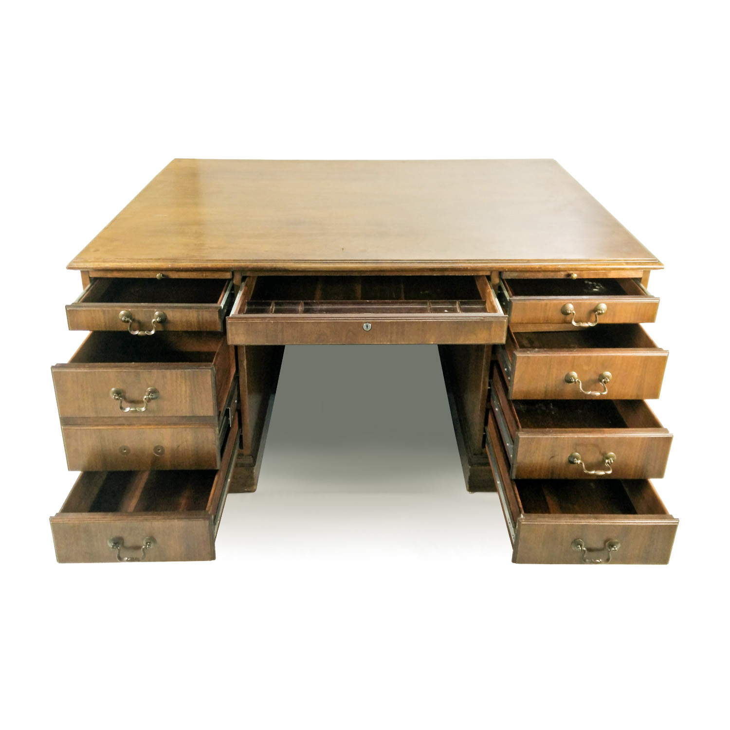 Antique Antique Solid Oak Bankers Desk Tables