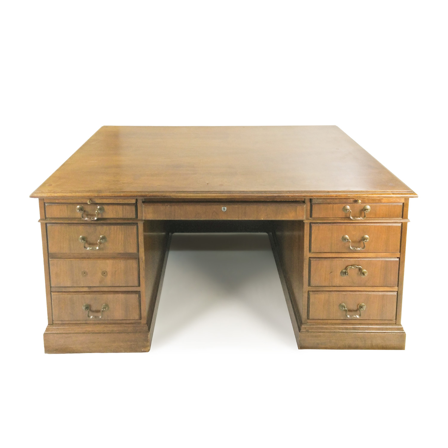 Antique Antique Solid Oak Bankers Desk second hand