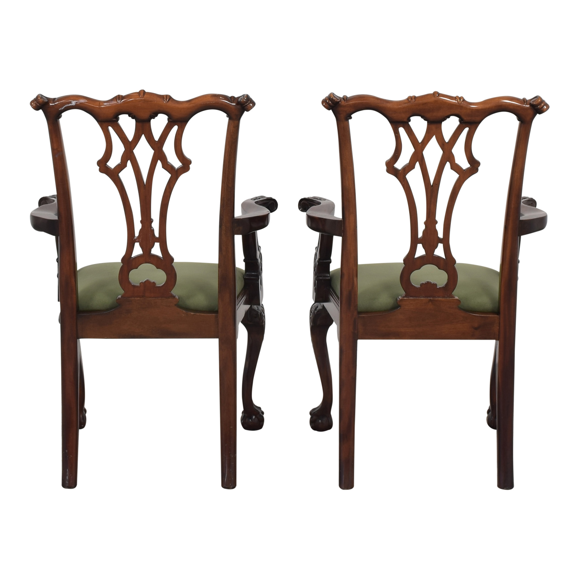 Greenbaum Interiors Queen Anne Style Dining Arm Chairs pa