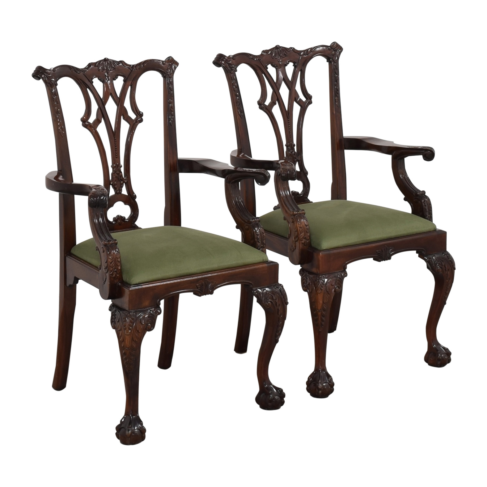 Greenbaum Interiors Queen Anne Style Dining Arm Chairs nyc
