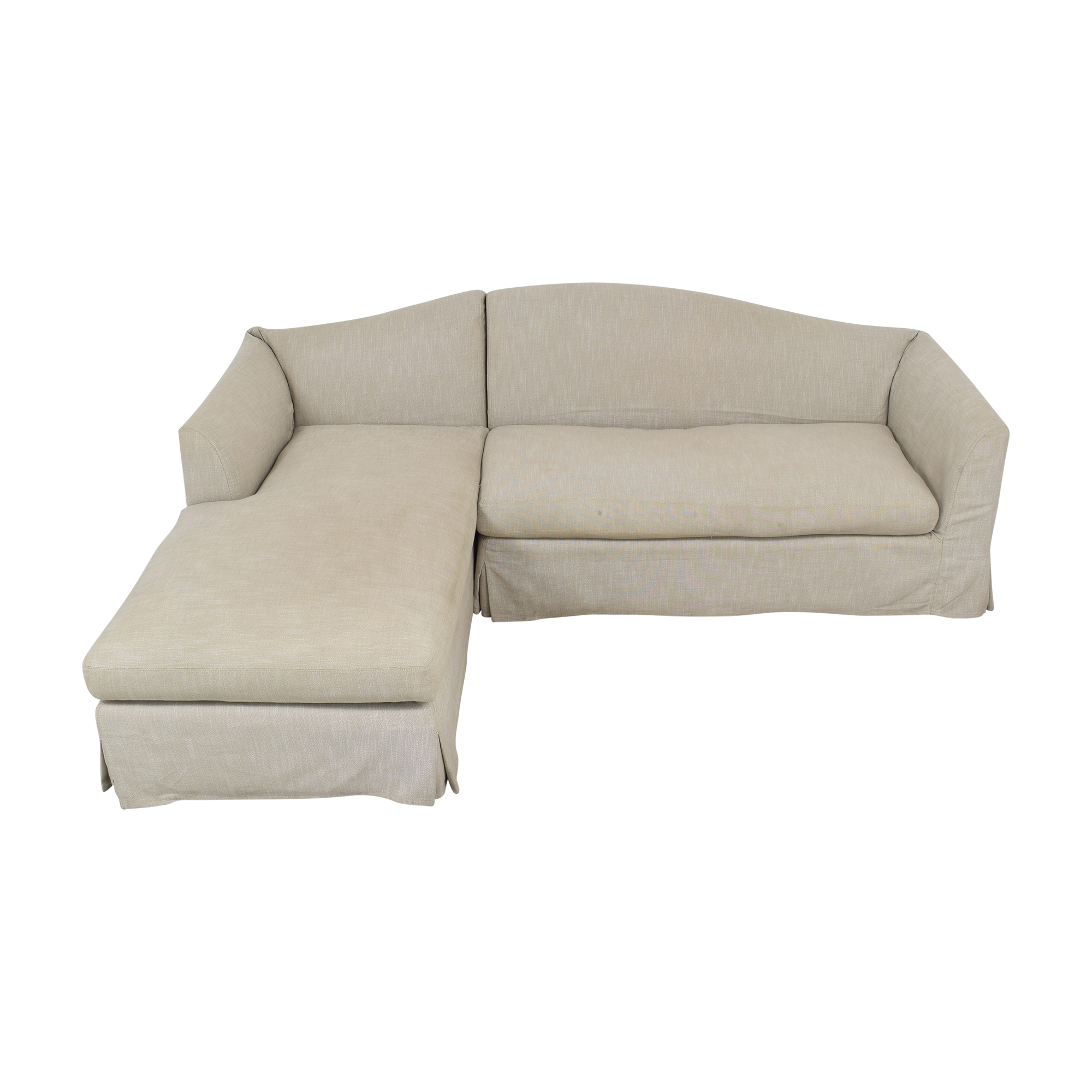 Restoration Hardware Restoration Hardware Belgian Camelback Slipcovered Sectional Sofa with Chaise on sale