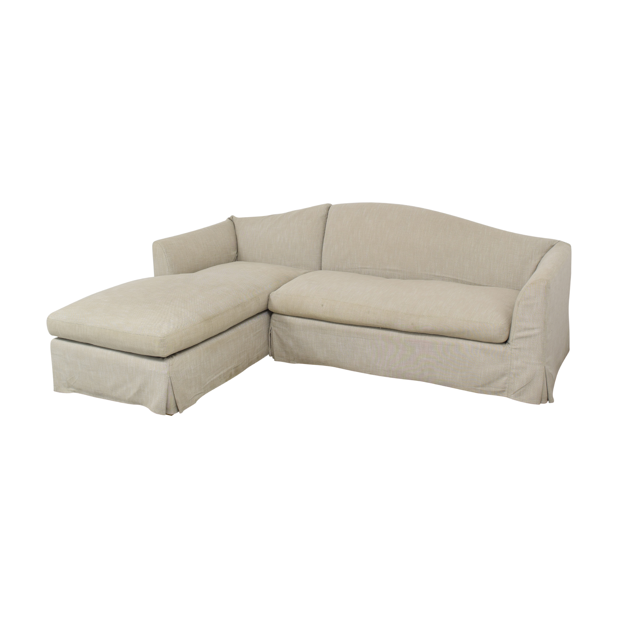 Restoration Hardware Restoration Hardware Belgian Camelback Slipcovered Sectional Sofa with Chaise discount