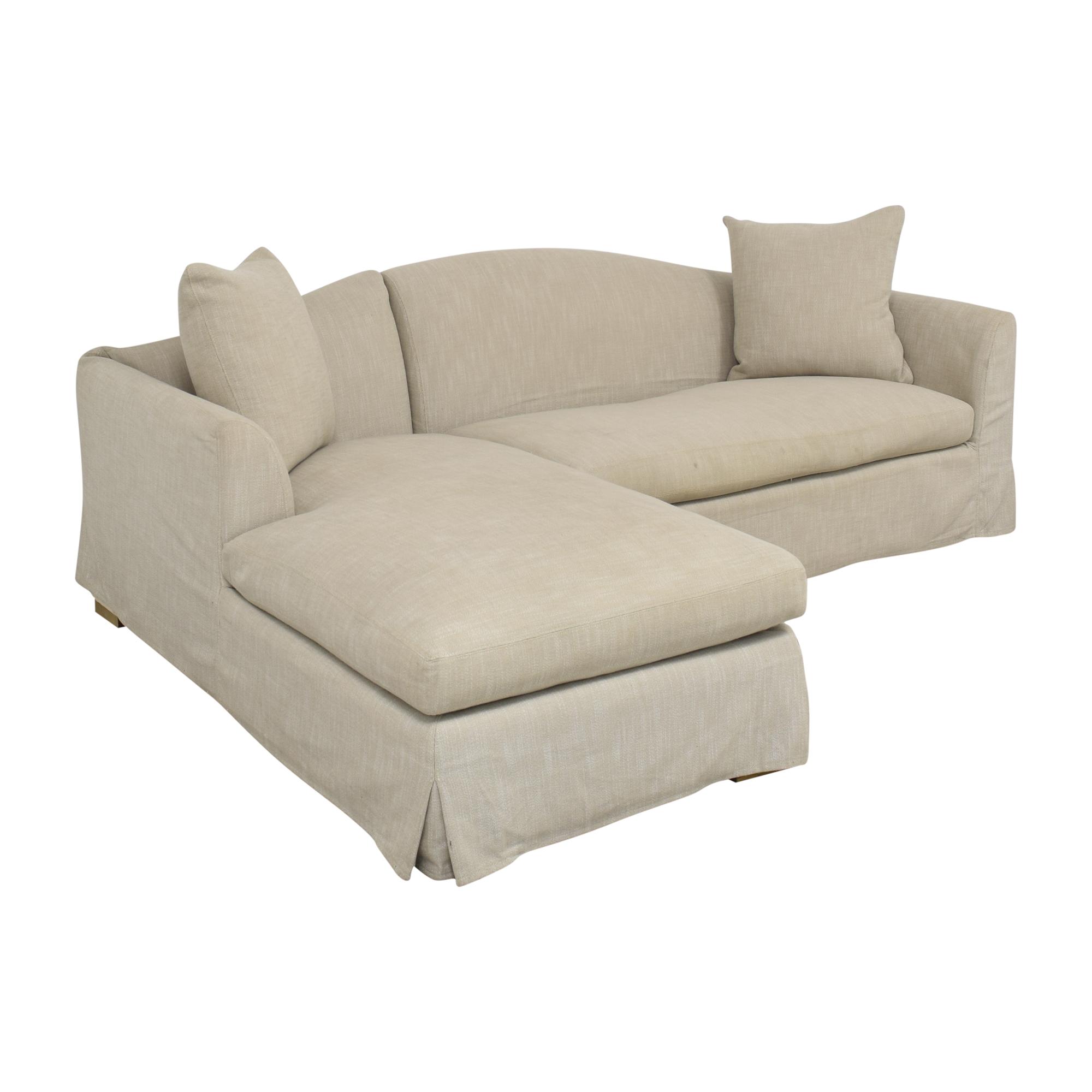 buy Restoration Hardware Belgian Camelback Slipcovered Sectional Sofa with Chaise Restoration Hardware