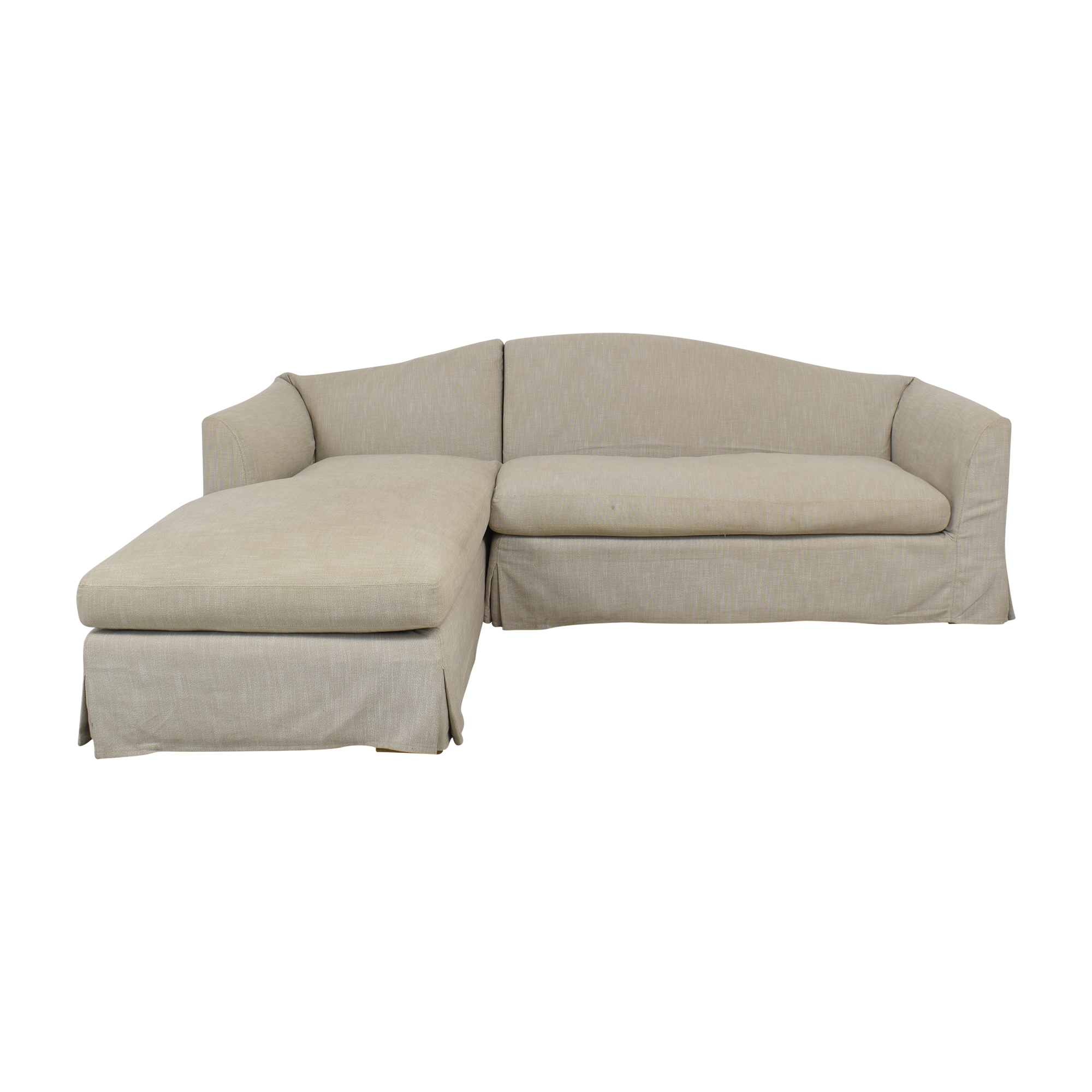 Restoration Hardware Restoration Hardware Belgian Camelback Slipcovered Sectional Sofa with Chaise pa