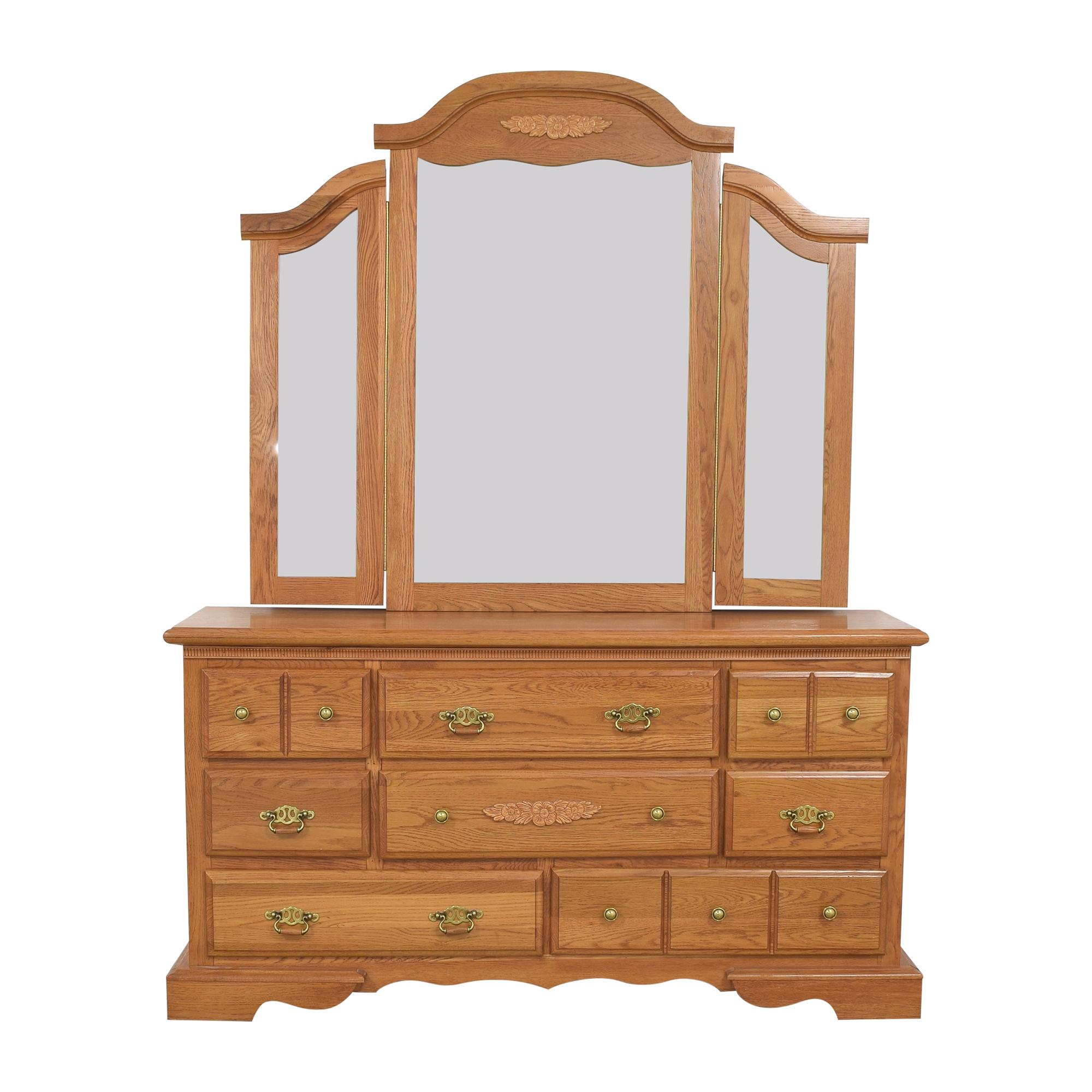 Dresser with Three Panel Mirror Storage