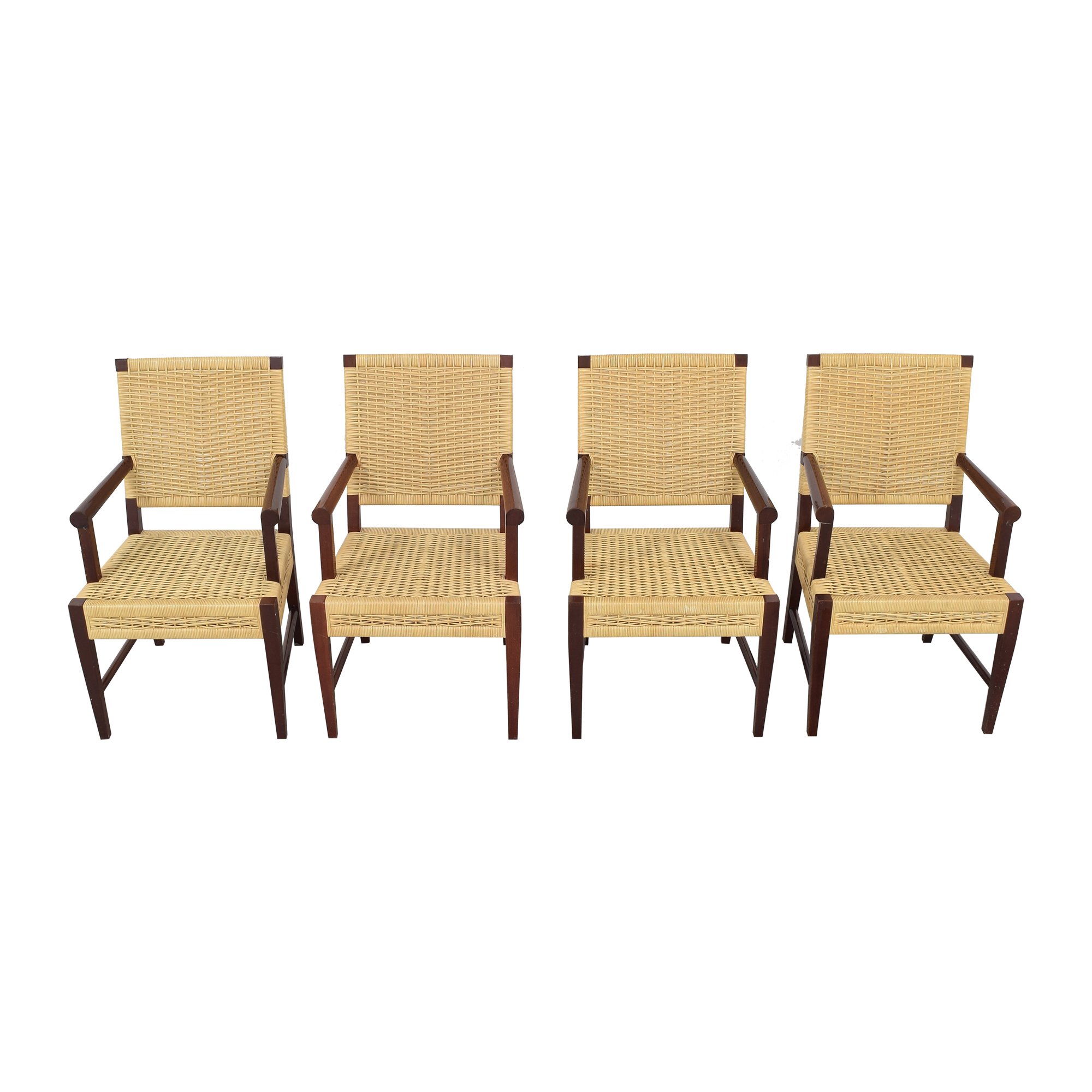 Donghia Dining Chairs in Merbau Wood with Raffia Weaving Donghia