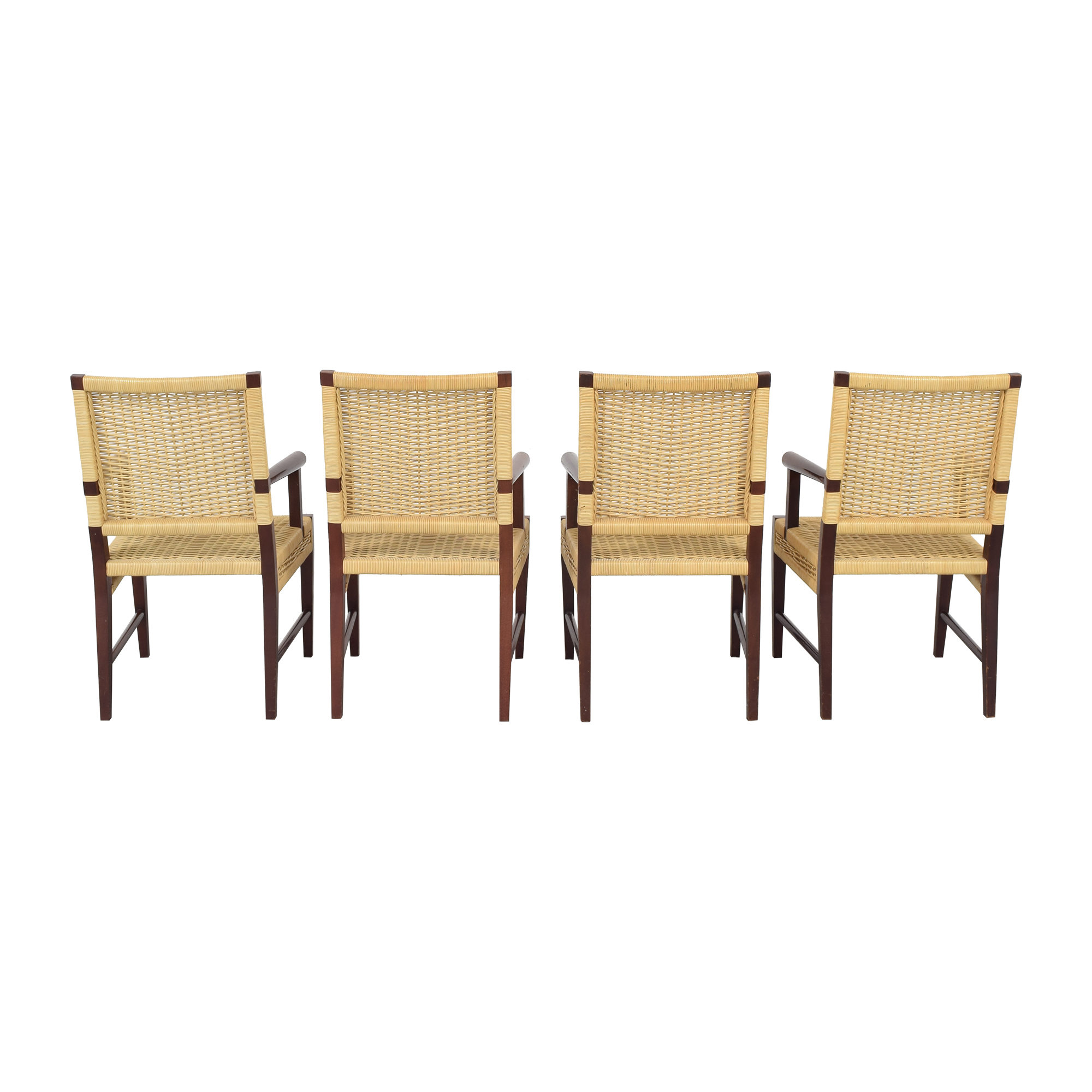Donghia Dining Chairs in Merbau Wood with Raffia Weaving sale