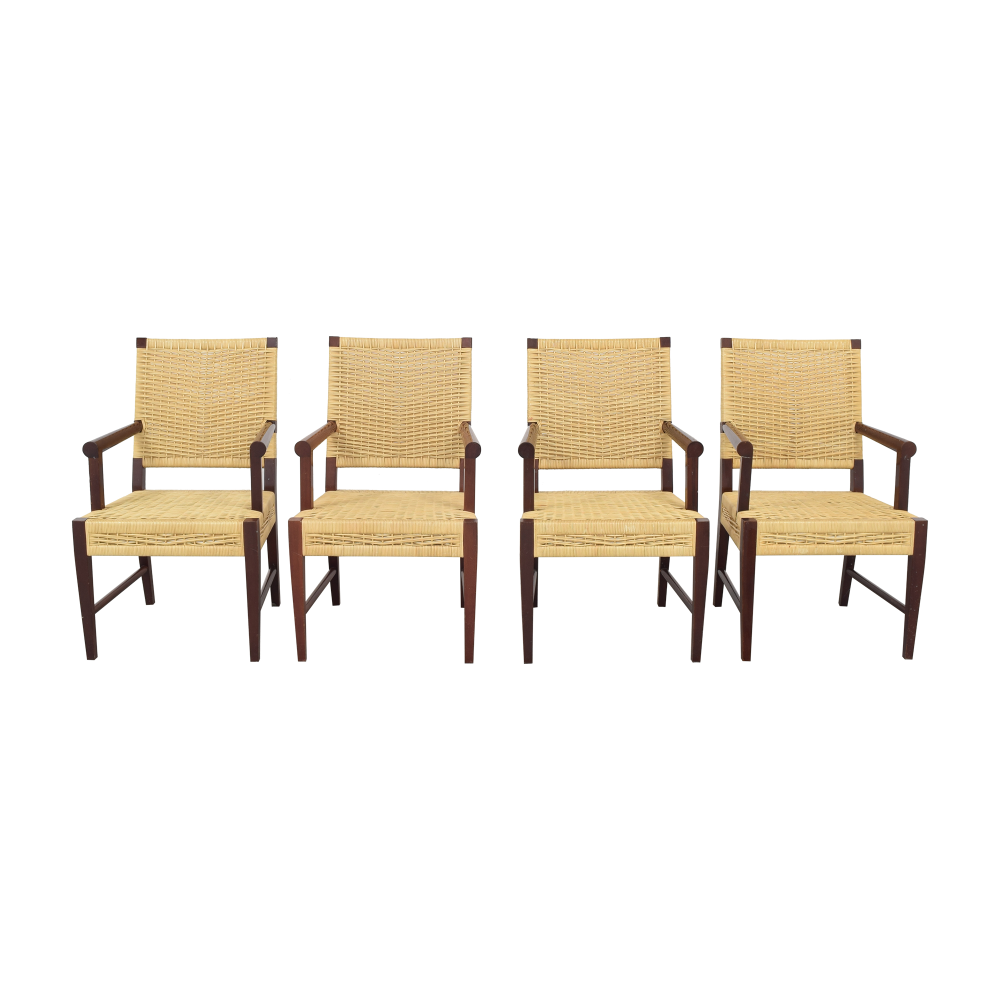 Donghia Donghia Dining Chairs in Merbau Wood with Raffia Weaving price