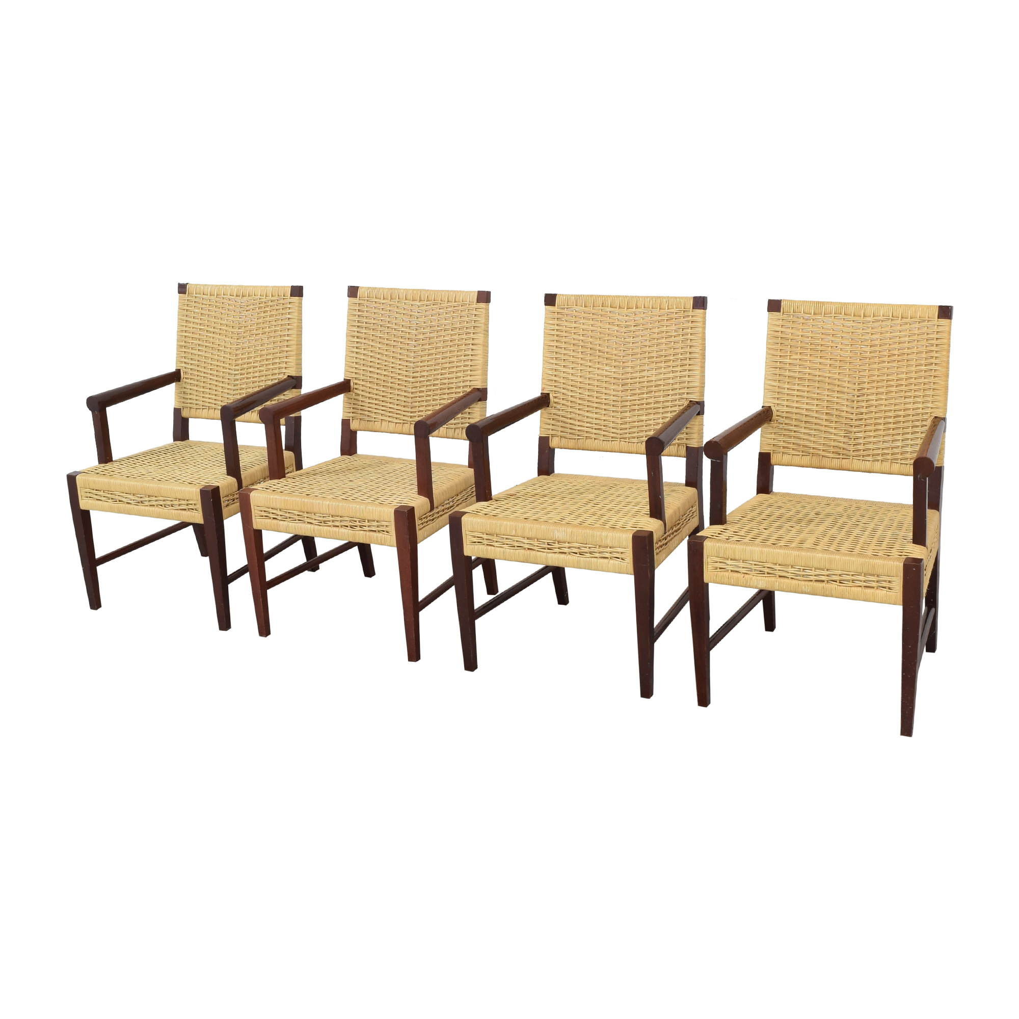 Donghia Donghia Dining Chairs in Merbau Wood with Raffia Weaving on sale