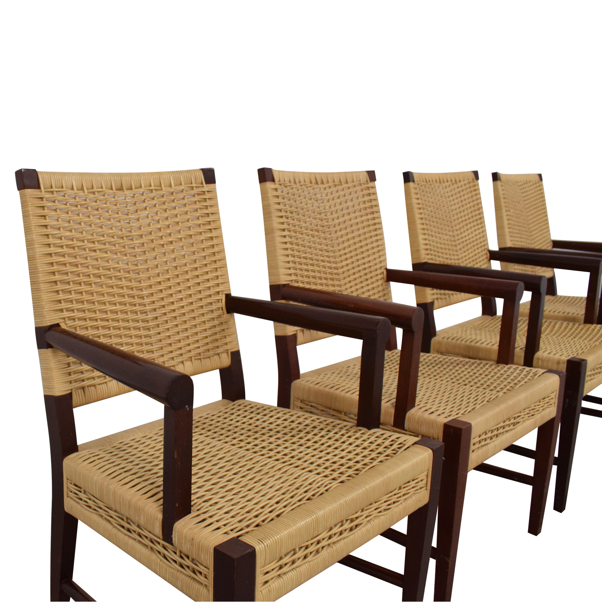 Donghia Donghia Dining Chairs in Merbau Wood with Raffia Weaving Chairs