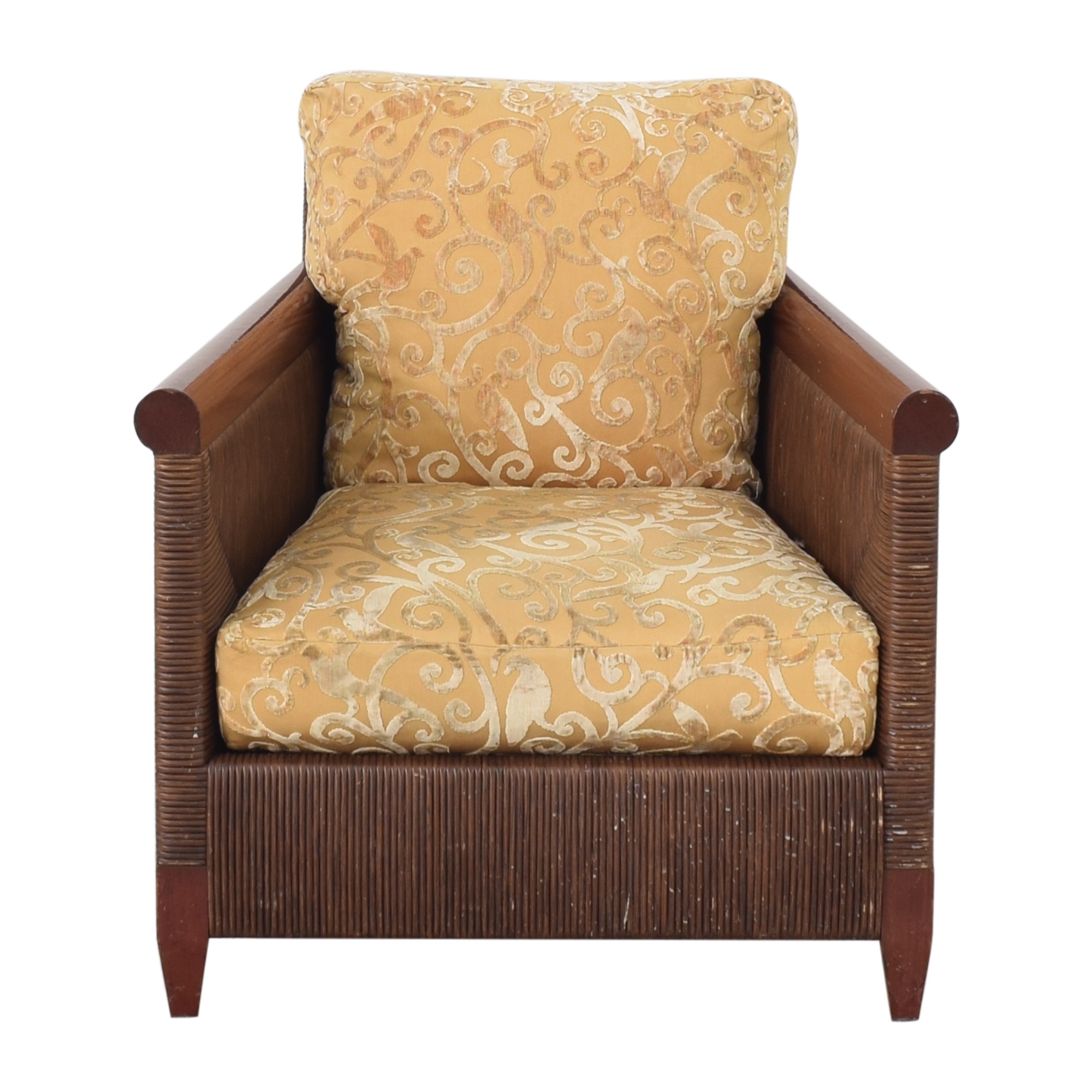 Donghia Donghia by John Hutton Mahogany and Wicker Lounger second hand