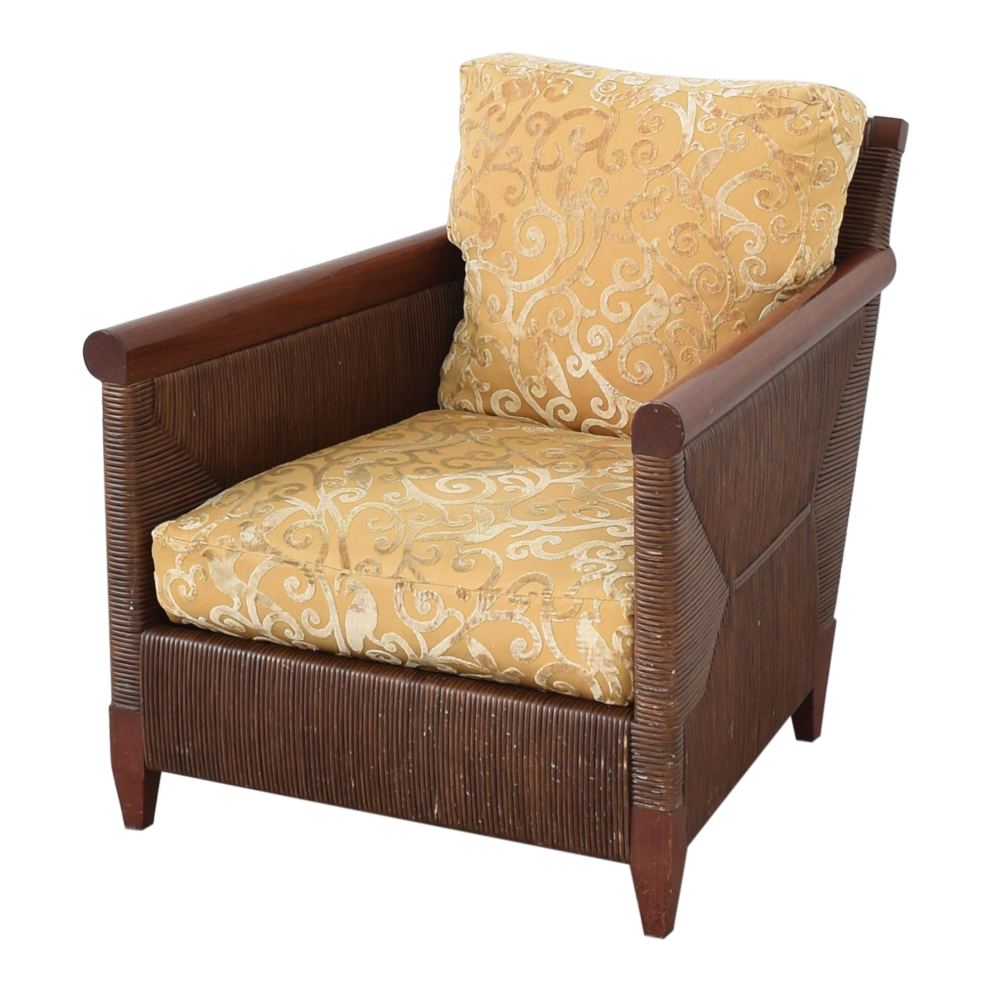 Donghia Donghia by John Hutton Mahogany and Wicker Lounger ma
