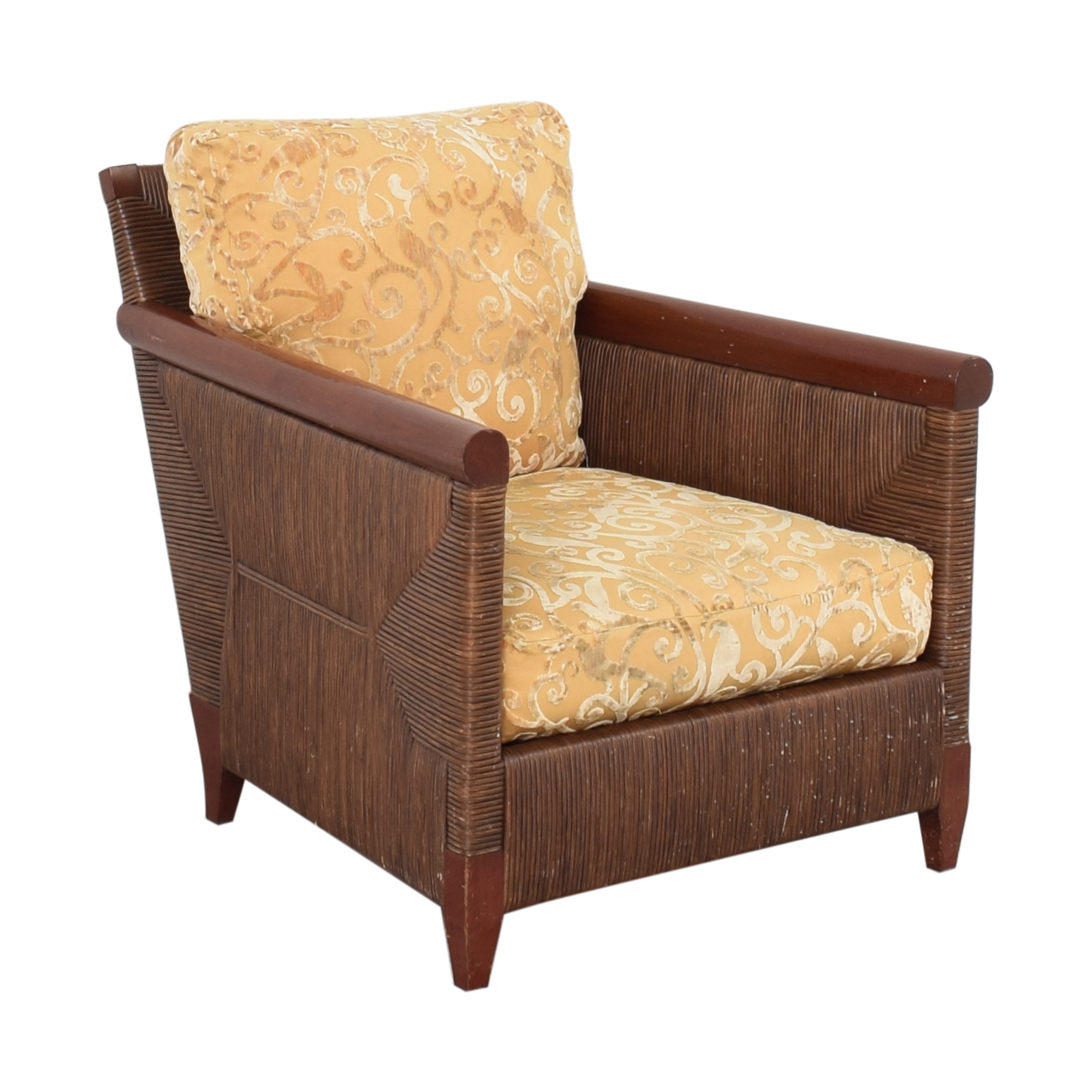 buy Donghia by John Hutton Mahogany and Wicker Lounger Donghia Chairs