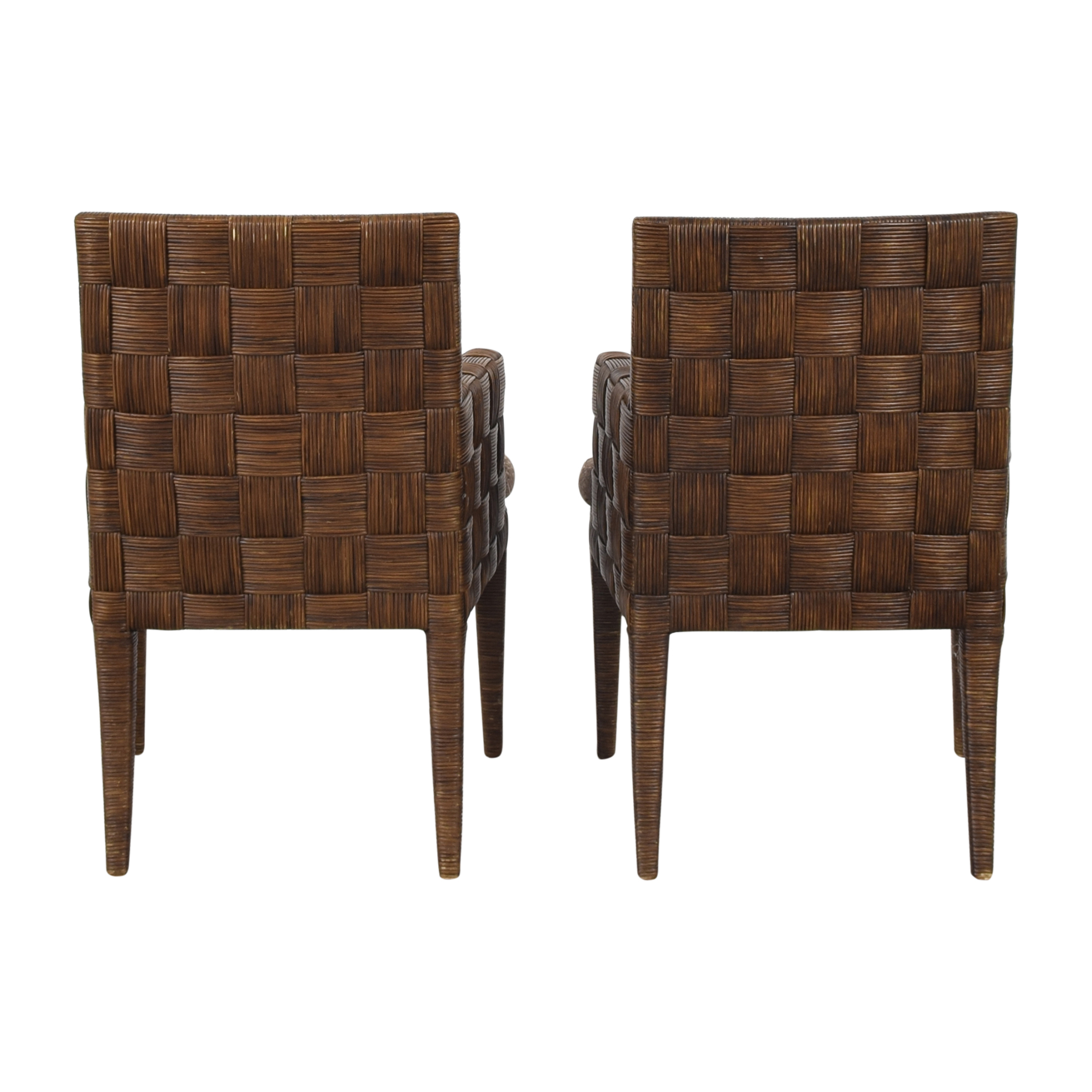 Donghia Donghia by John Hutton Block Island Dining Armchairs dark brown and beige