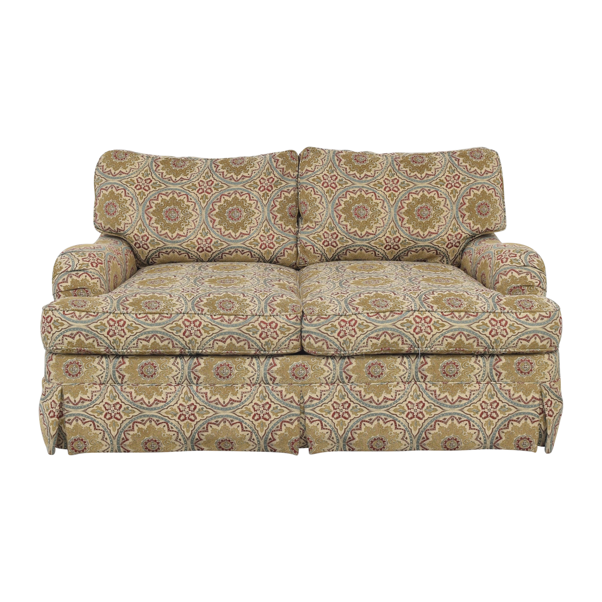 shop Bernhardt Saddle Arm Skirted Loveseat Bernhardt Sofas