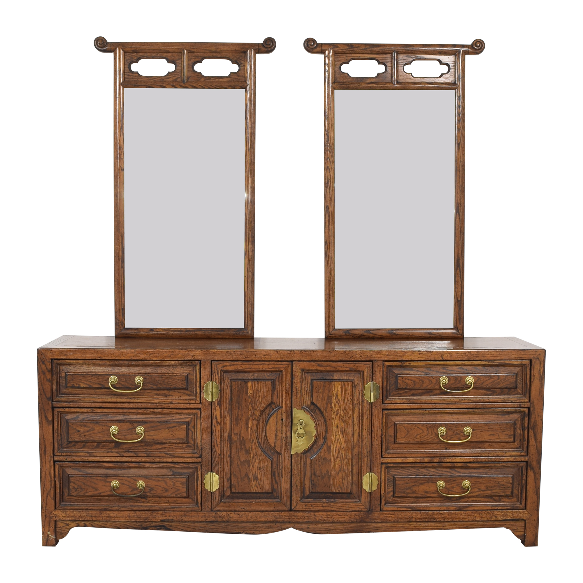 Century Furniture Century Furniture Nine Drawer Double Mirror Dresser second hand