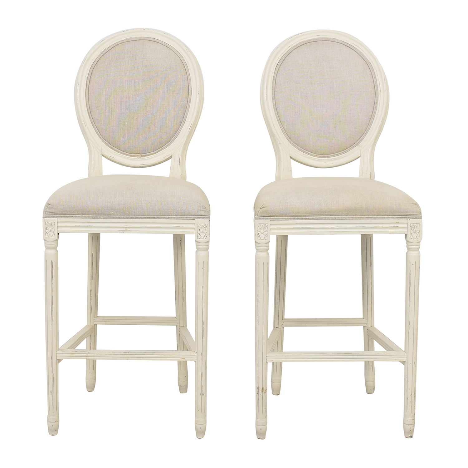 Restoration Hardware Restoration Hardware Vintage French Round Fabric Stools coupon