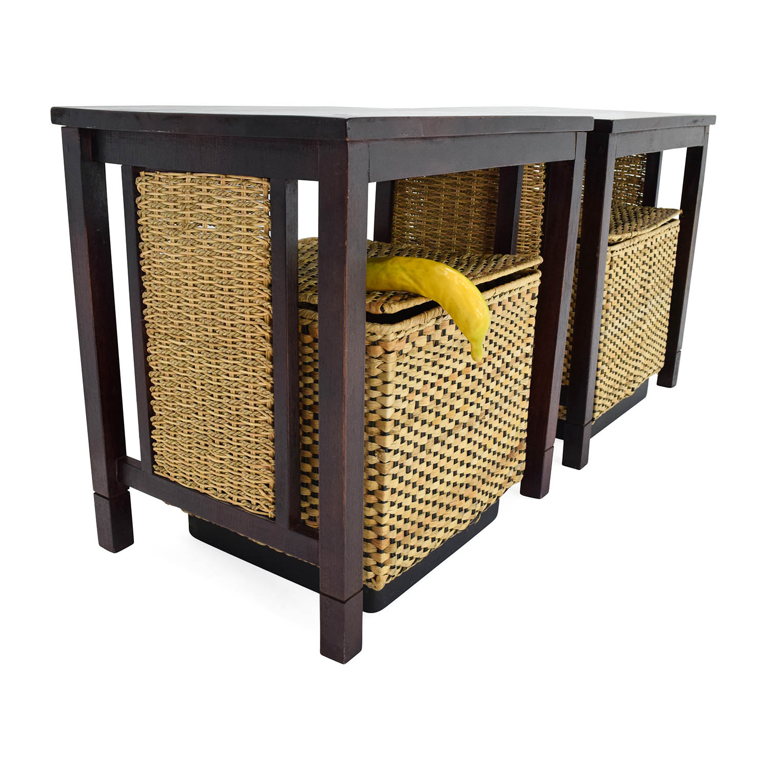 OFF Unknown Brand Paif of Side Tables with Baskets Storage