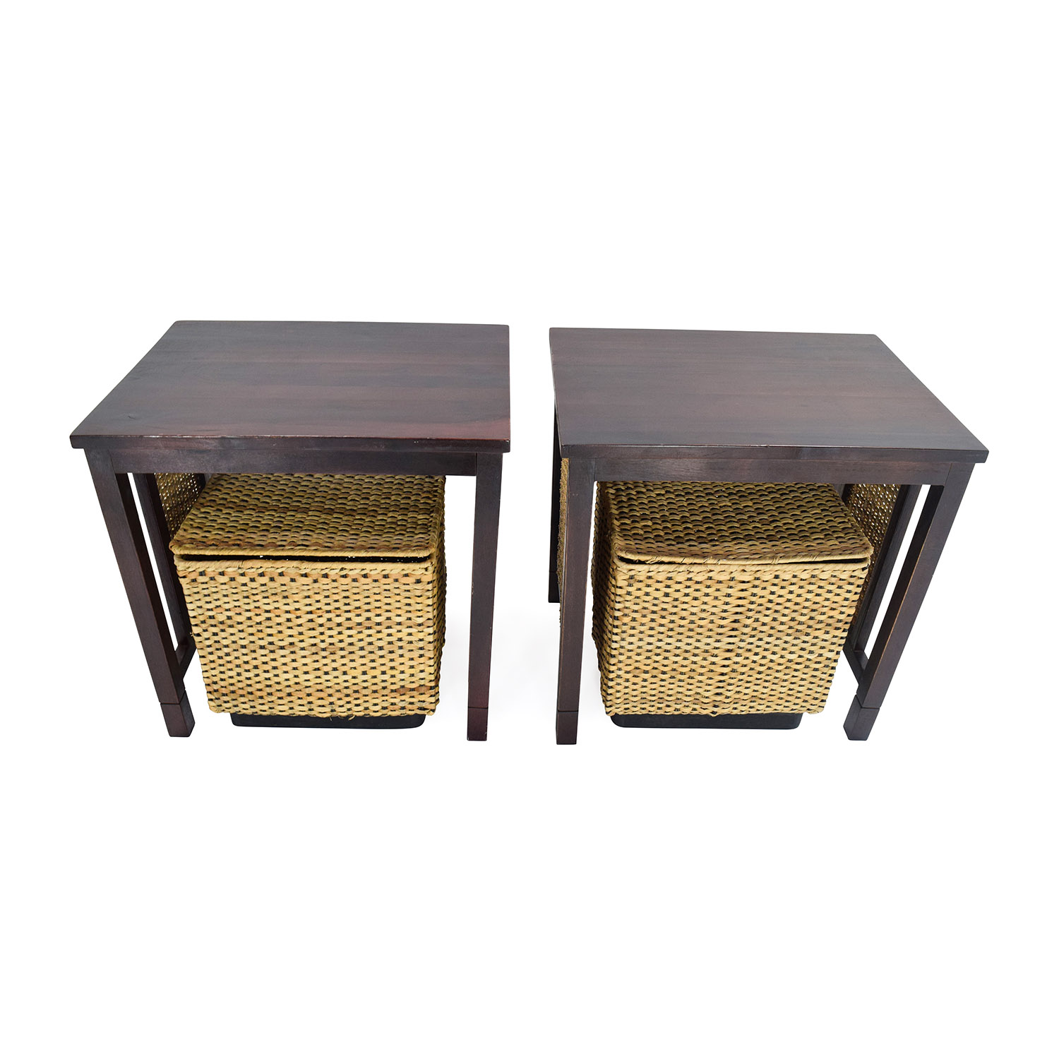 Unknown Brand Paif of Side Tables with Baskets used