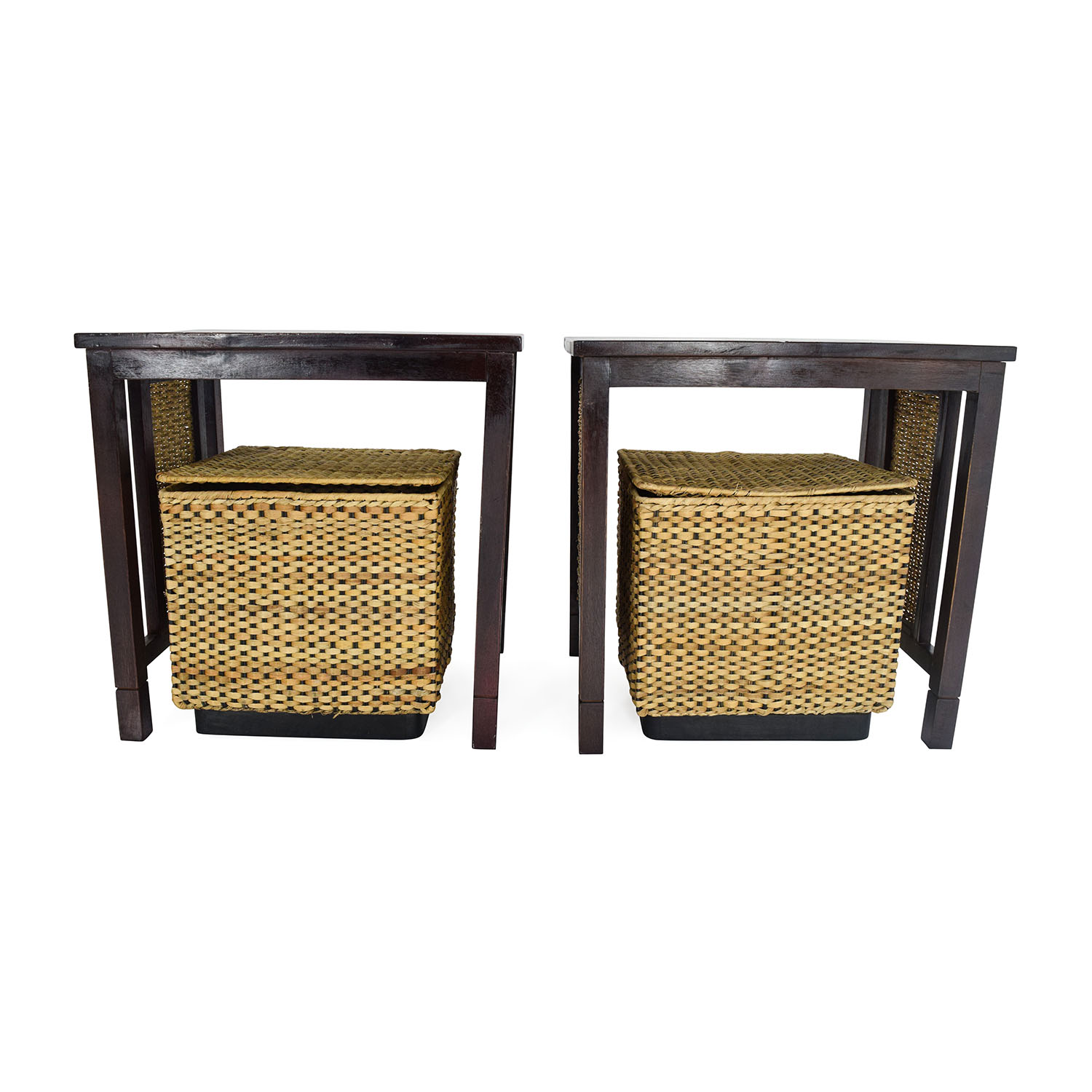 Unknown Brand Paif of Side Tables with Baskets discount