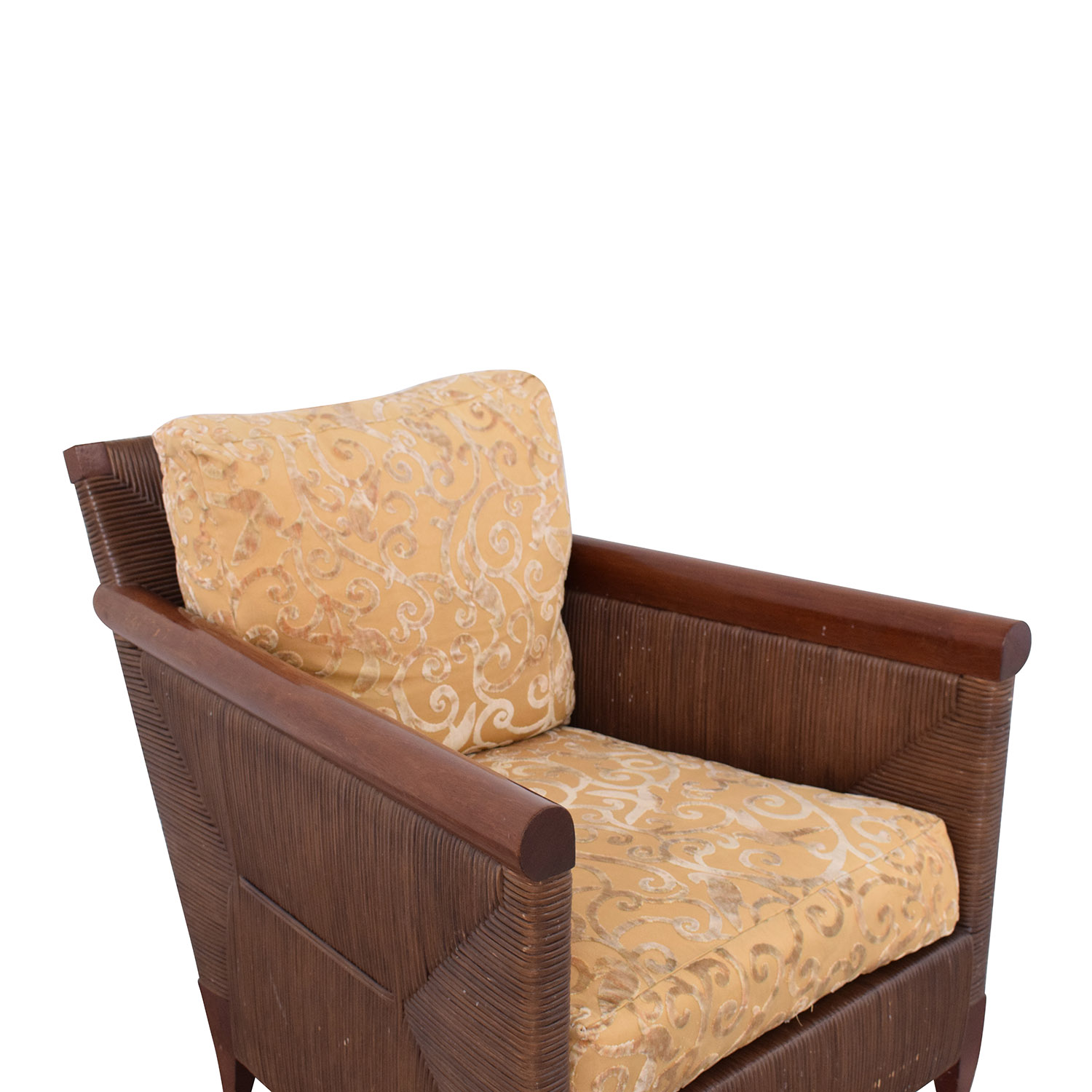 buy Donghia by John Hutton Mahogany and Wicker Lounger Donghia