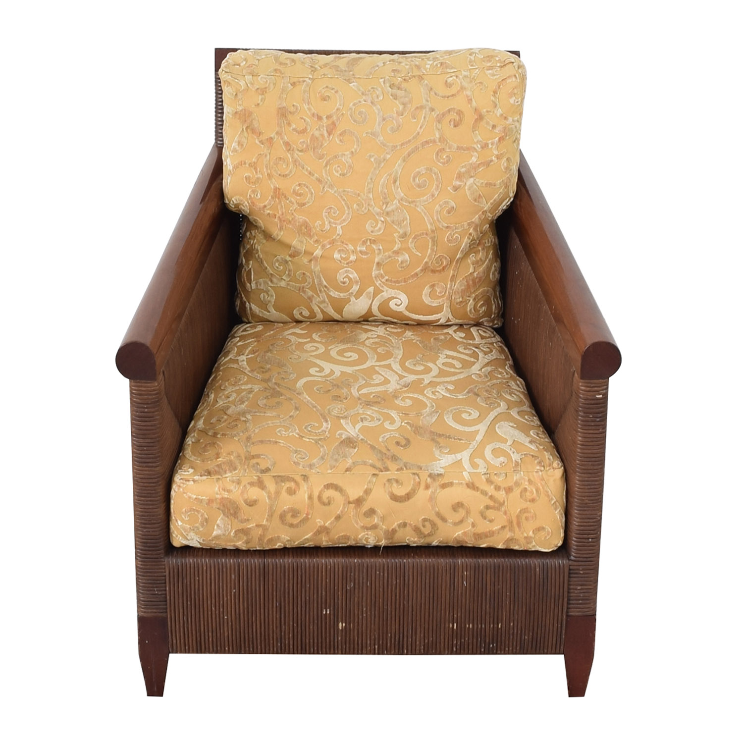 shop Donghia by John Hutton Mahogany and Wicker Lounger Donghia