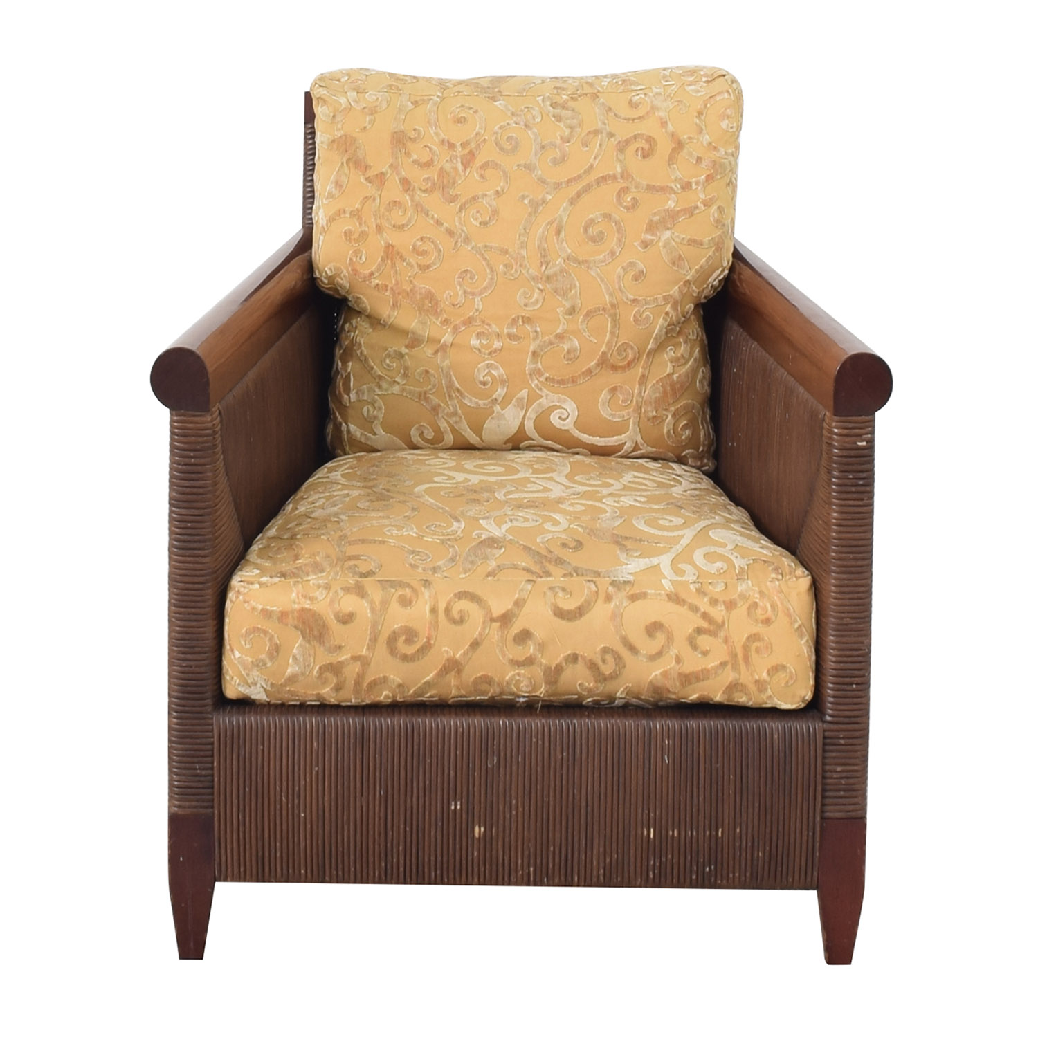 buy Donghia by John Hutton Mahogany and Wicker Lounger Donghia Accent Chairs