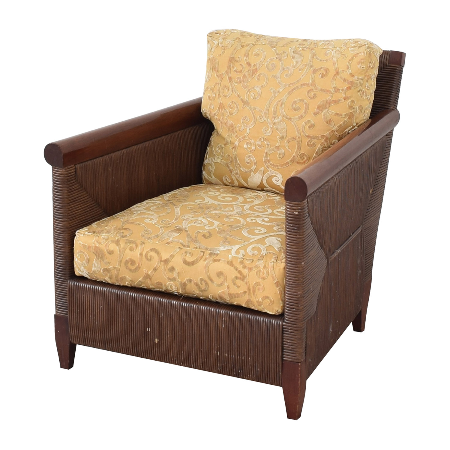 Donghia by John Hutton Mahogany and Wicker Lounger / Accent Chairs