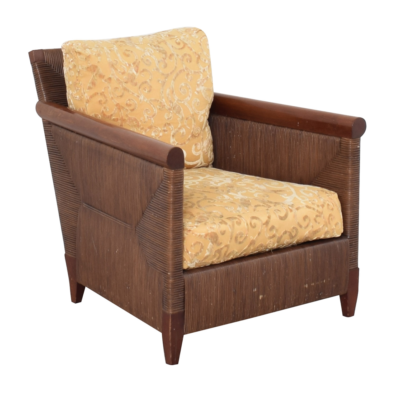 Donghia Donghia by John Hutton Mahogany and Wicker Lounger discount