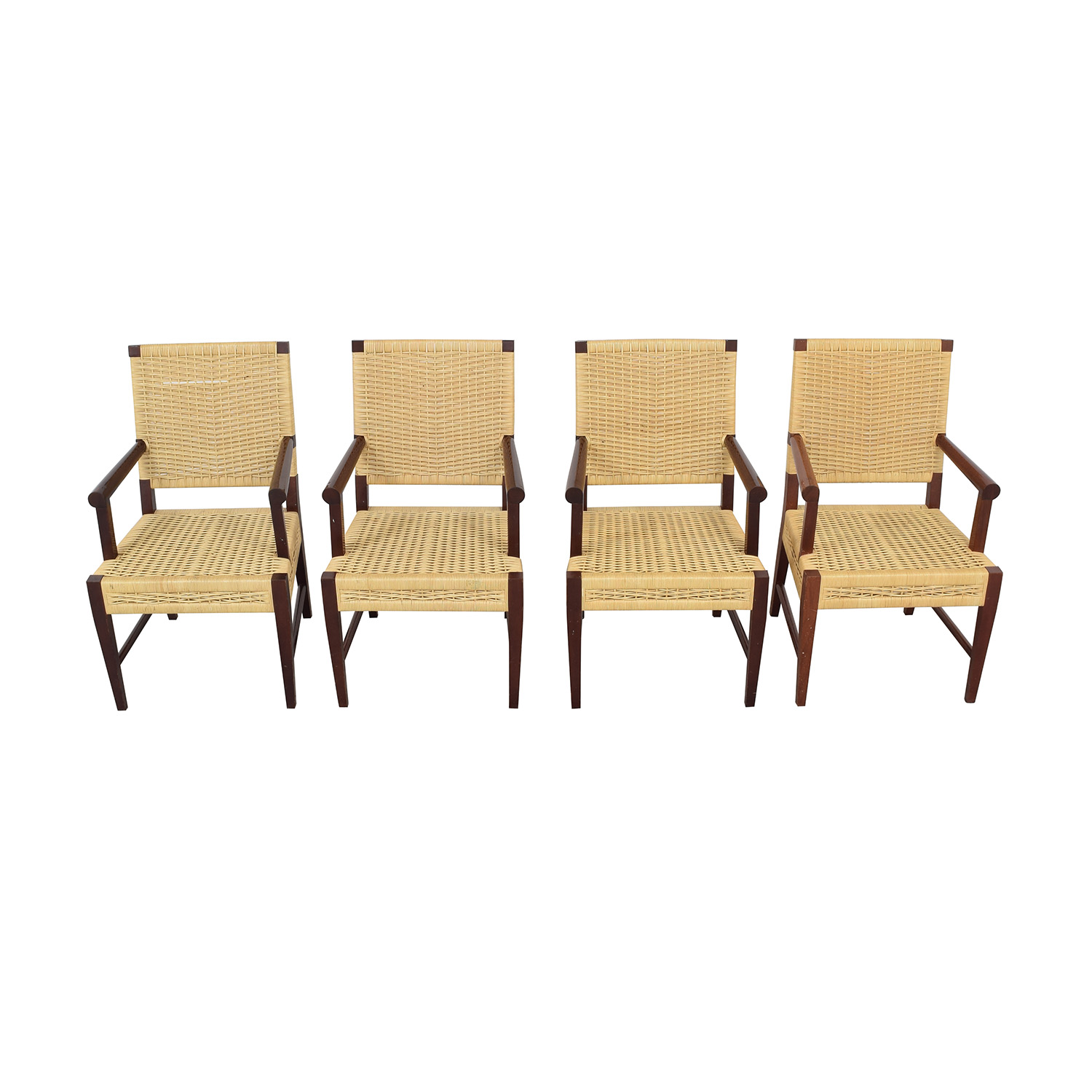 Donghia Donghia Dining Chairs in Merbau Wood with Raffia Weaving second hand