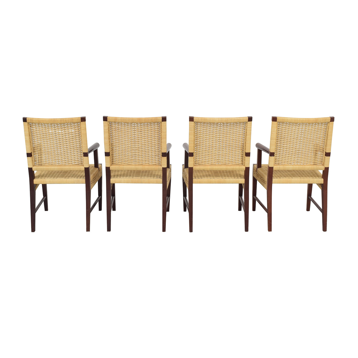 Donghia Donghia Dining Chairs in Merbau Wood with Raffia Weaving ct