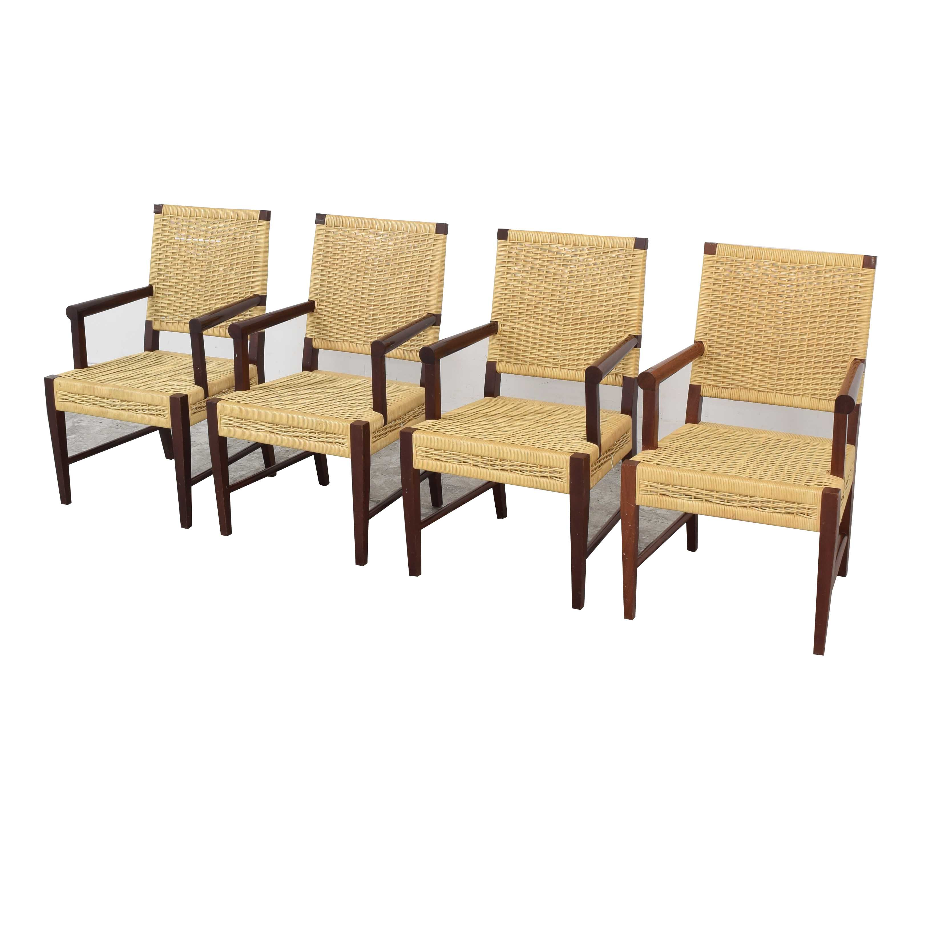 Donghia Donghia Dining Chairs in Merbau Wood with Raffia Weaving light and dark brown