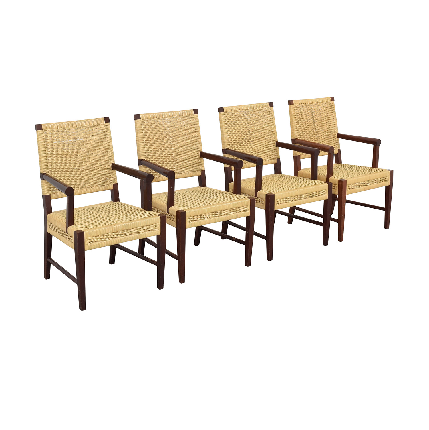 Donghia Donghia Dining Chairs in Merbau Wood with Raffia Weaving nj