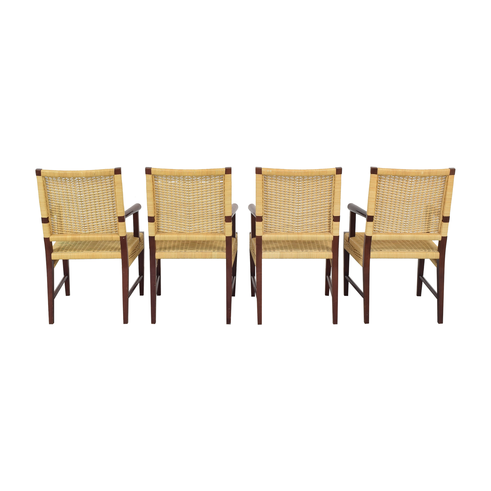 Donghia Donghia Dining Chairs in Merbau Wood with Raffia Weaving used