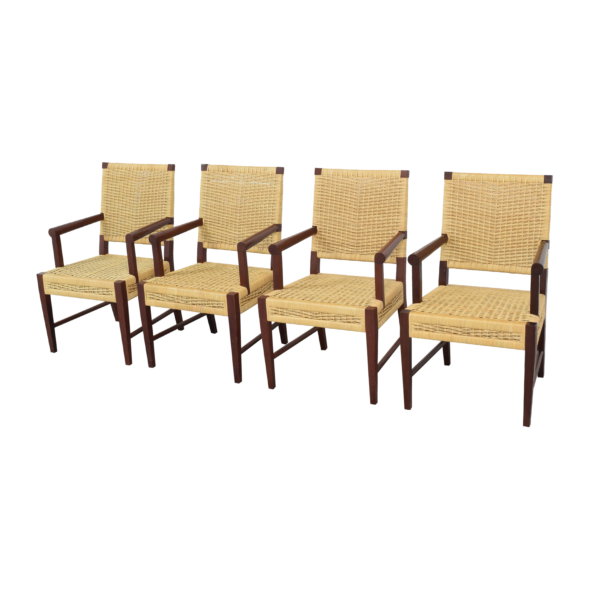 Donghia Donghia Dining Chairs in Merbau Wood with Raffia Weaving nyc